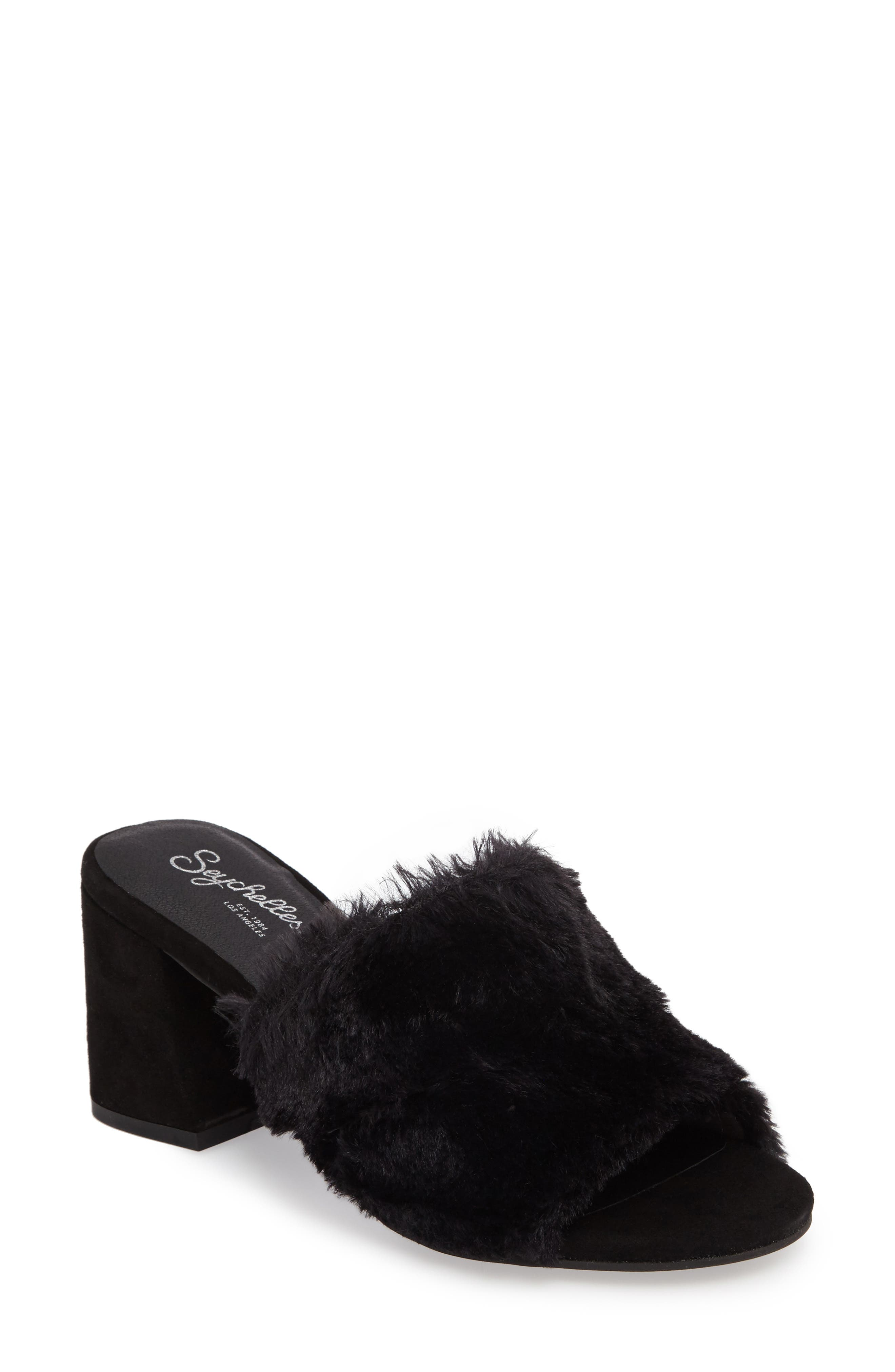 Nobody Else Faux Fur Slide Sandal,                             Main thumbnail 1, color,                             001