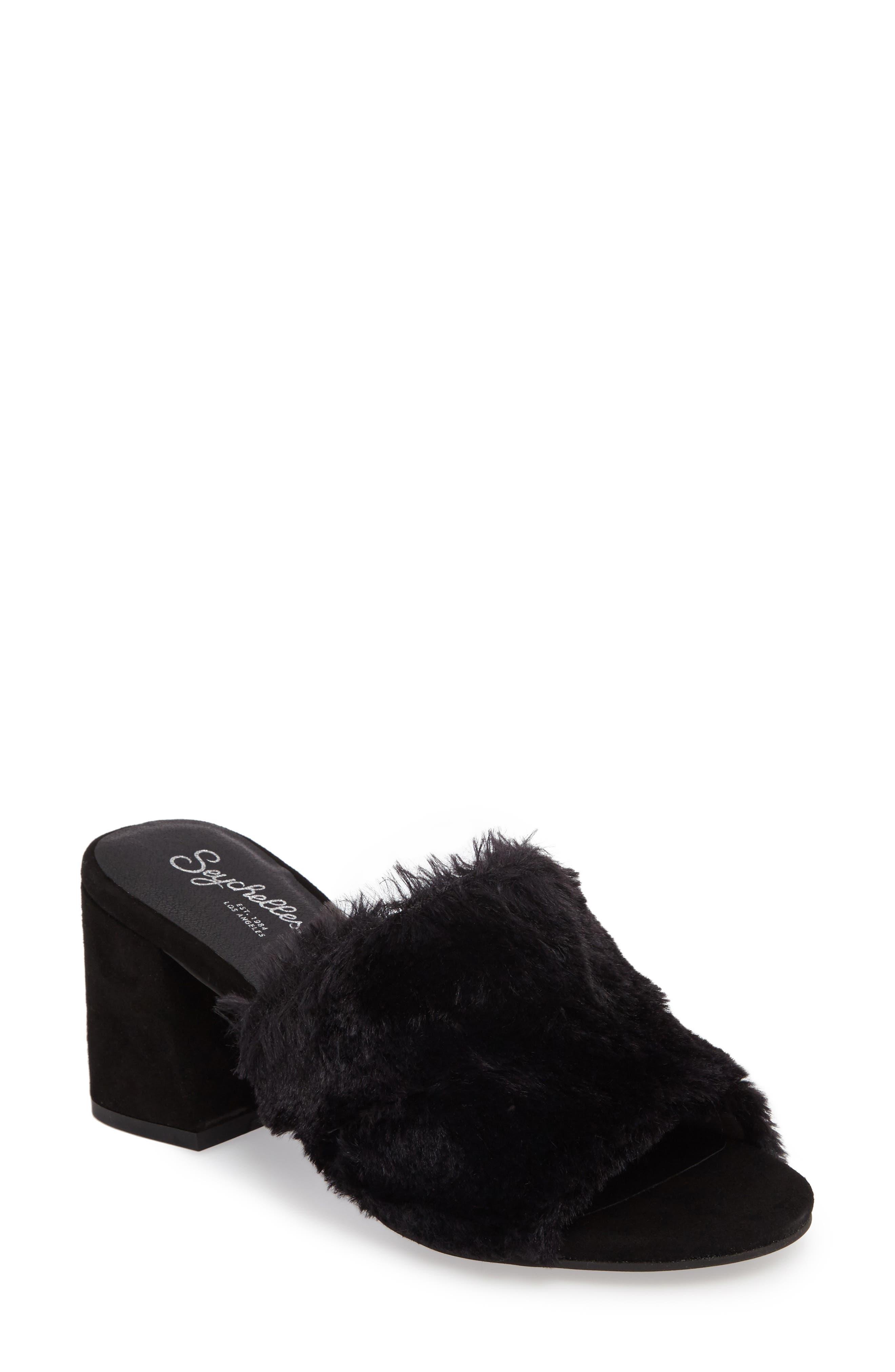 Nobody Else Faux Fur Slide Sandal,                         Main,                         color, 001