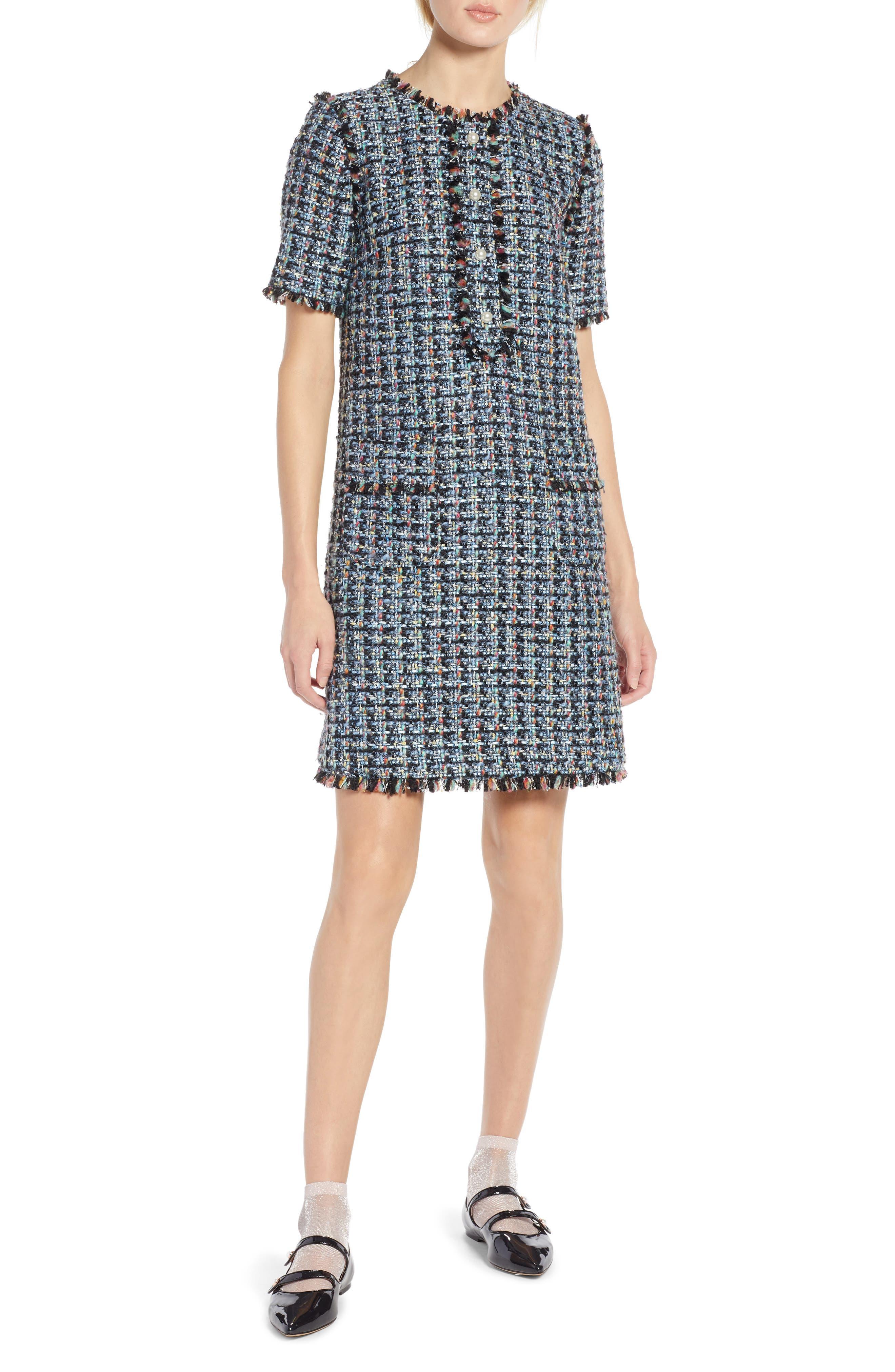 x Atlantic-Pacific Fringe Tweed Dress,                             Main thumbnail 1, color,                             BLACK MULTI TWEED