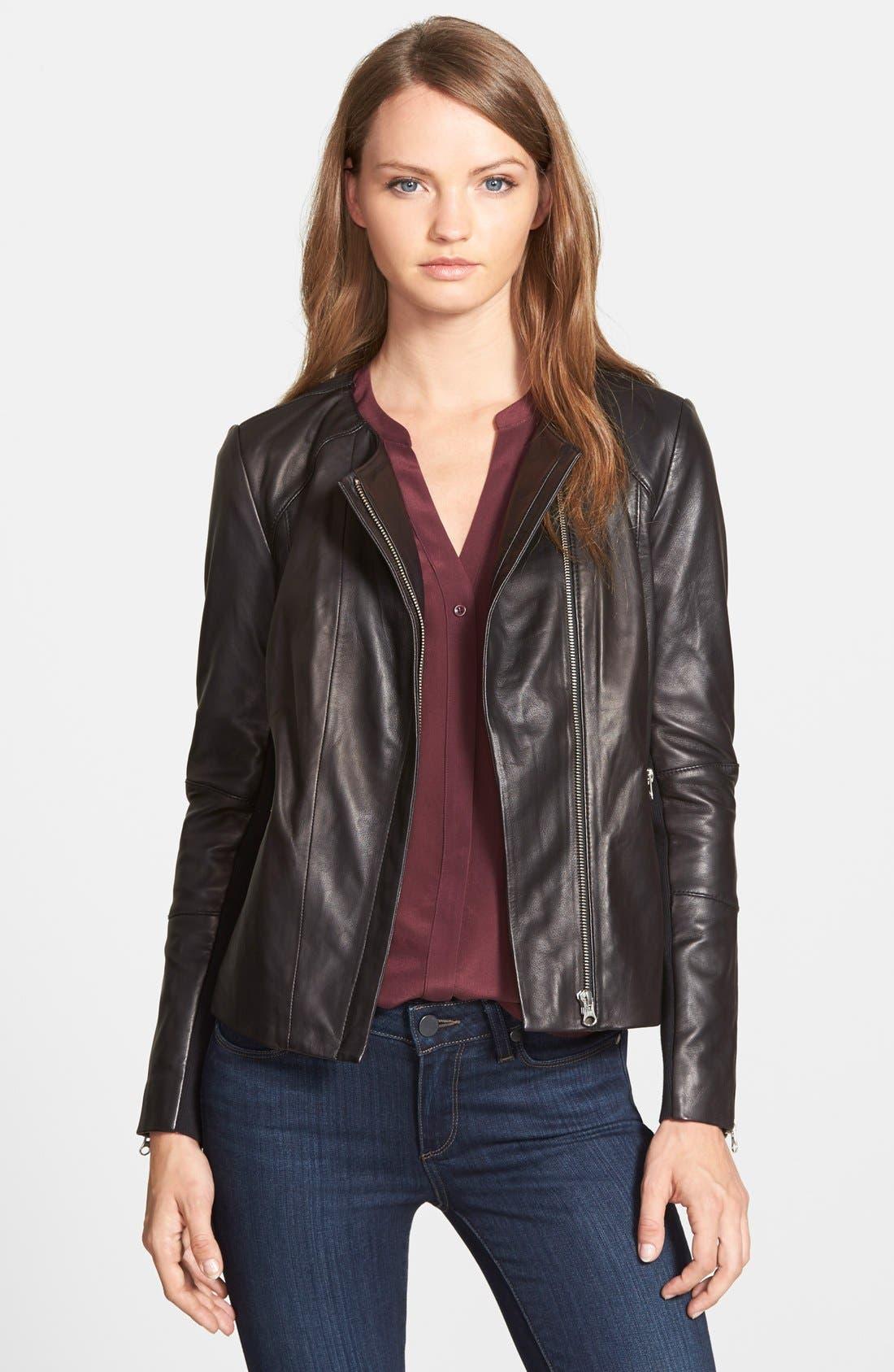 Collarless Leather Jacket,                             Main thumbnail 1, color,                             001
