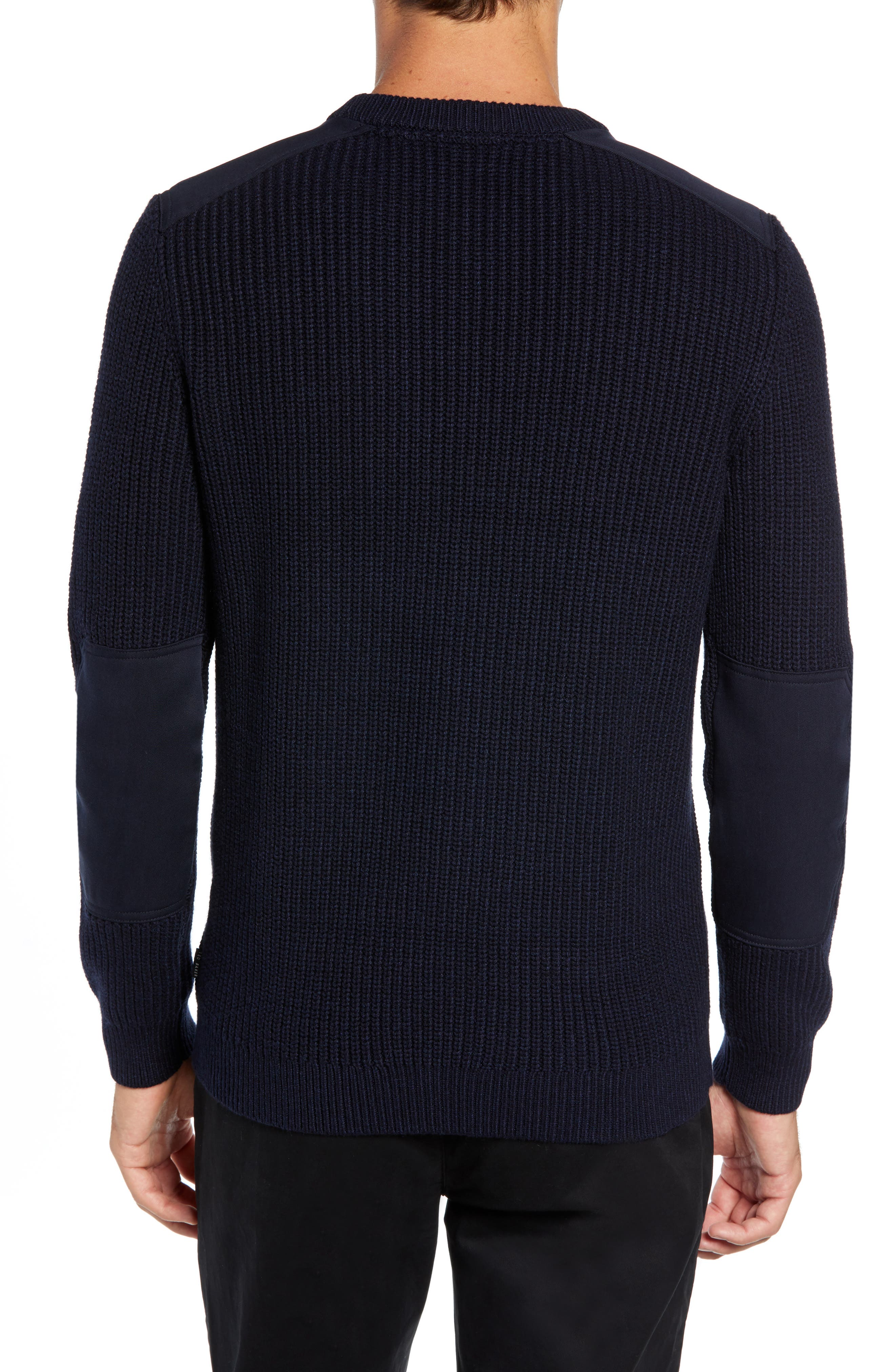 Laichi Trim Fit Cable Crewneck Sweater,                             Alternate thumbnail 2, color,                             NAVY