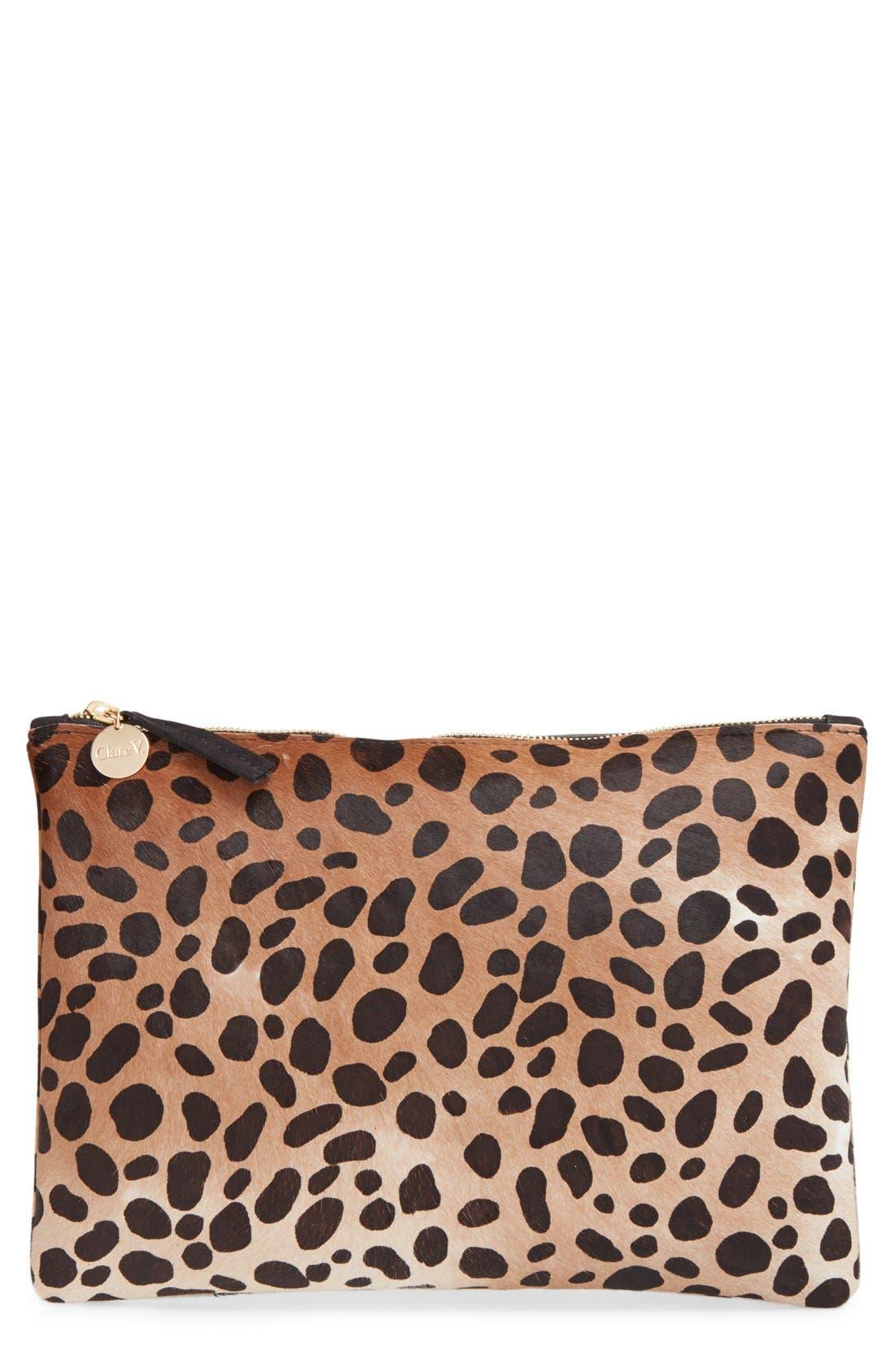 Genuine Calf Hair Leopard Print Zip Clutch, Main, color, 250
