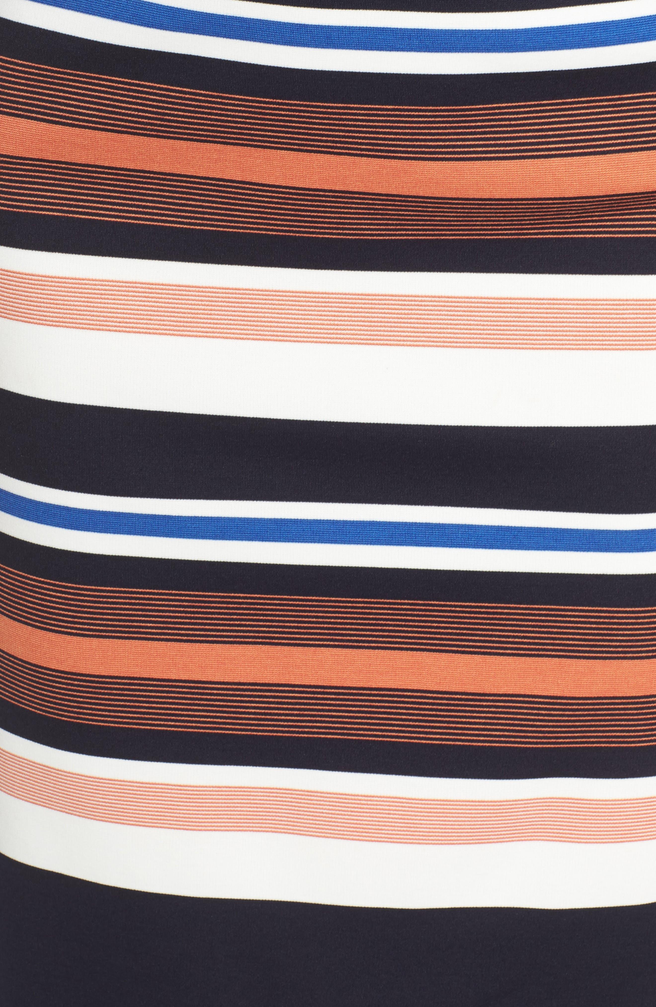Stripe Body-Con Dress,                             Alternate thumbnail 5, color,                             001