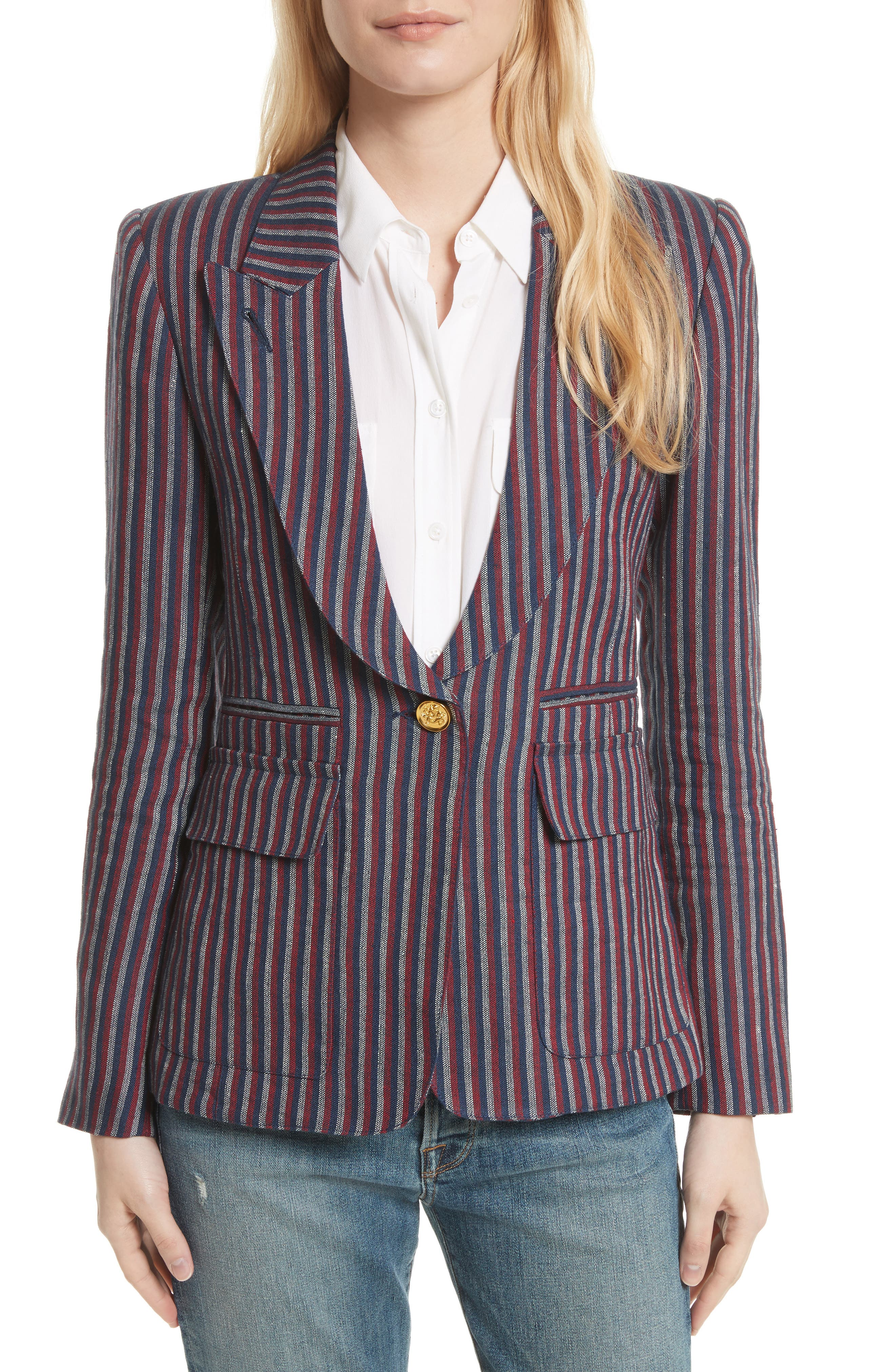 Stripe Cotton Blazer,                             Main thumbnail 1, color,                             607