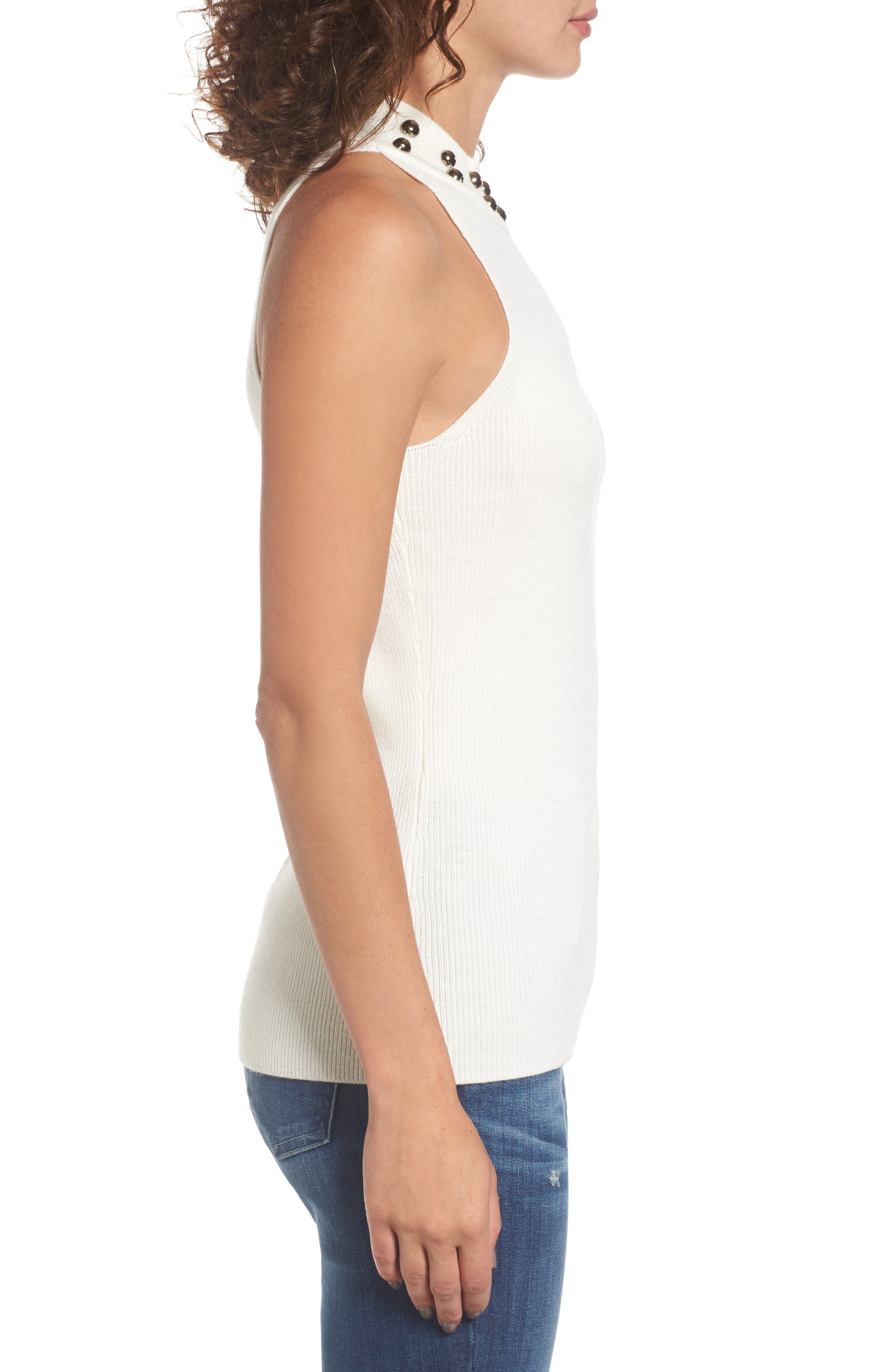 Dome Stud Mock Neck Top,                             Alternate thumbnail 6, color,