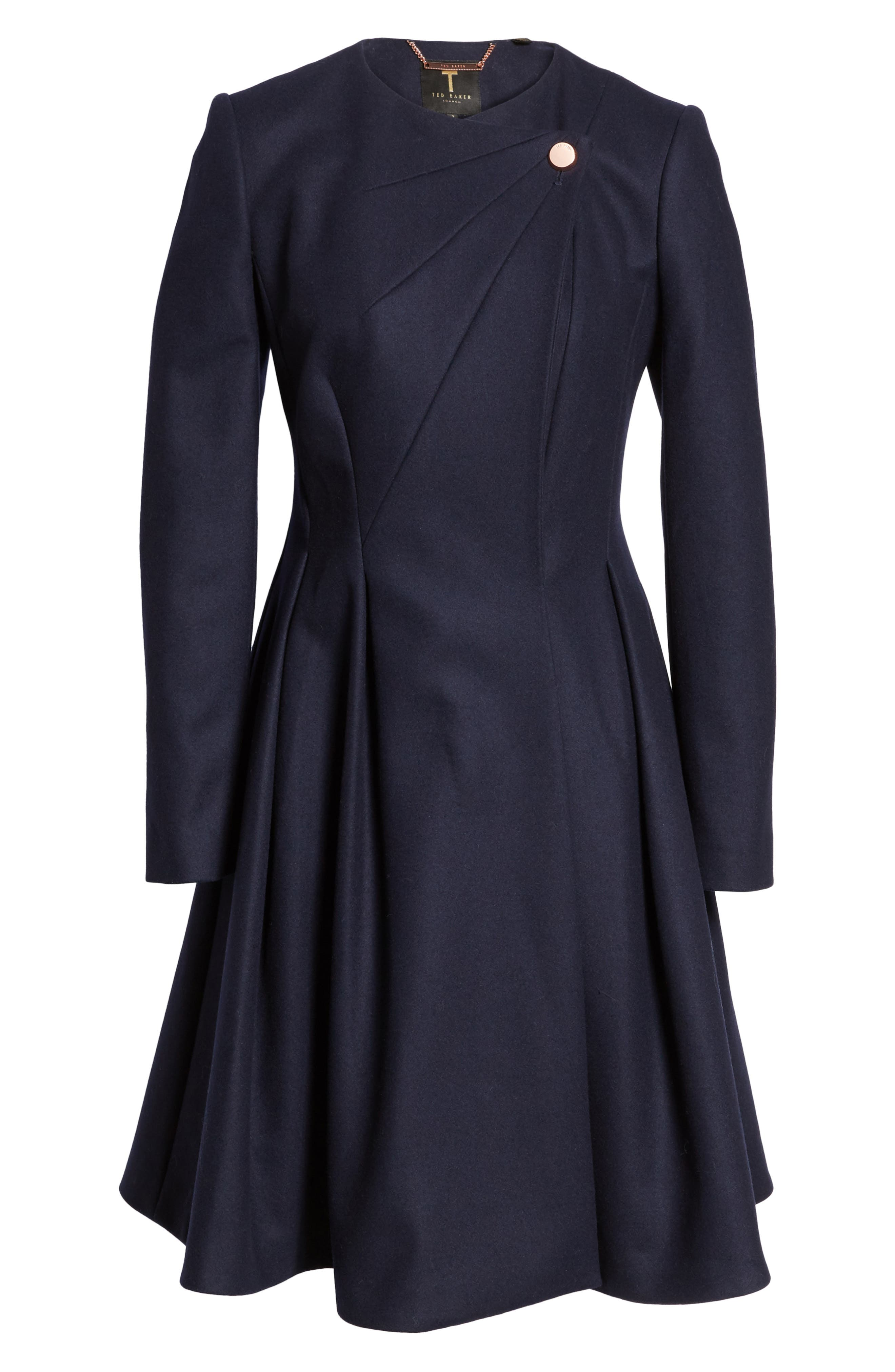 Wool Blend Asymmetrical Skirted Coat,                             Alternate thumbnail 5, color,                             410