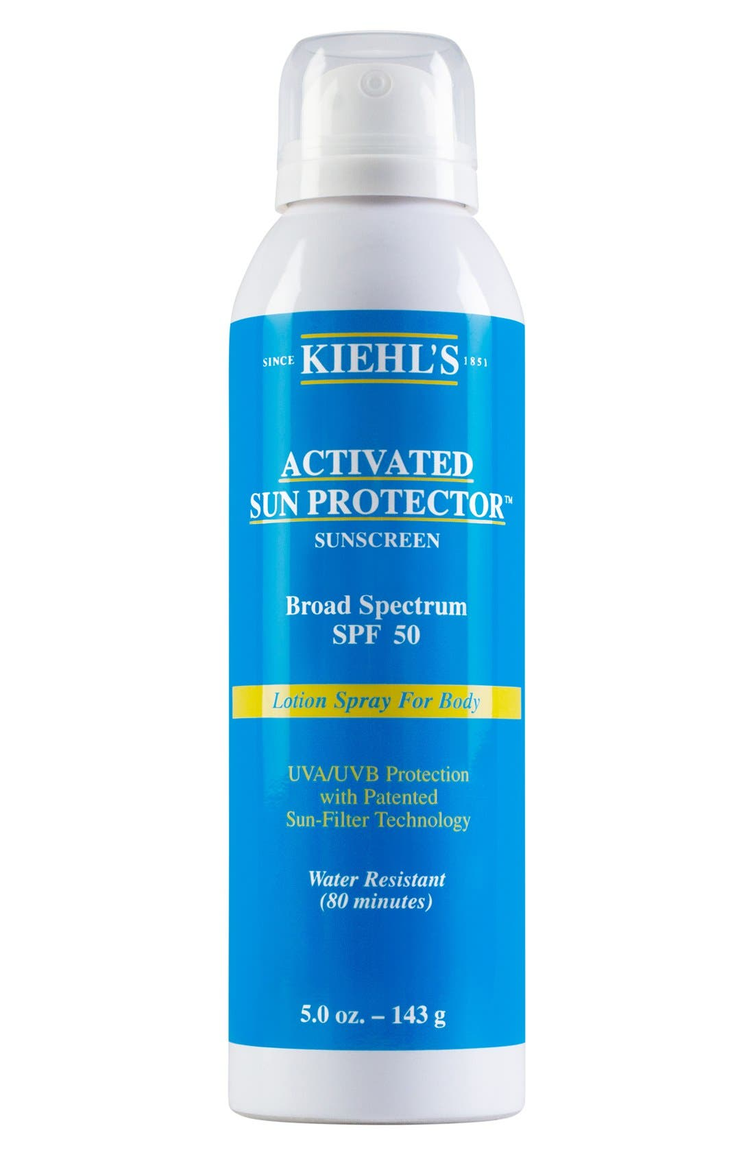 'Activated Sun Protector' Sunscreen Lotion Spray for Body Broad Spectrum SPF 50,                             Main thumbnail 1, color,                             000