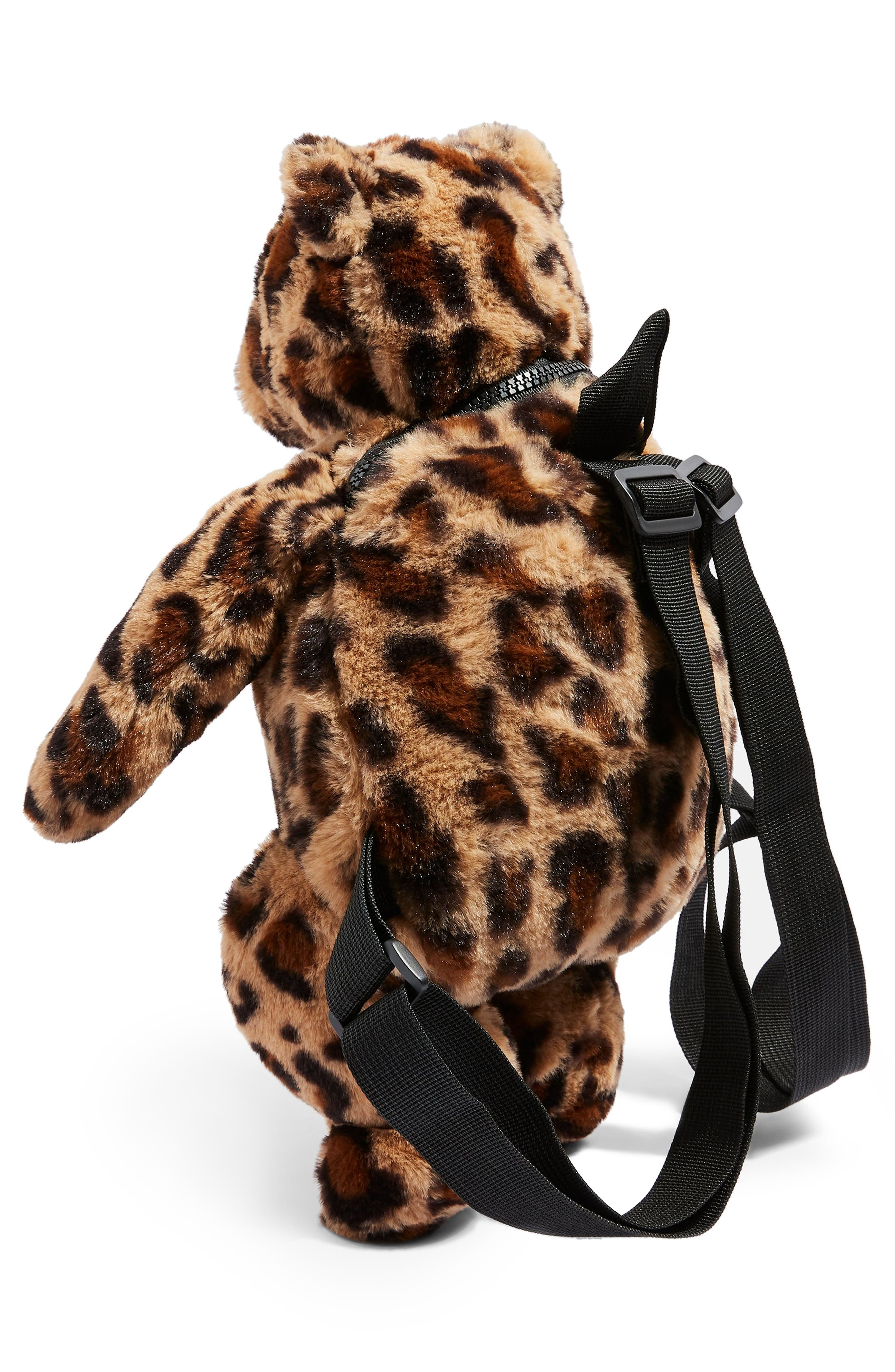 Faux Fur Teddy Bear Backpack,                             Alternate thumbnail 3, color,                             LEOPARD