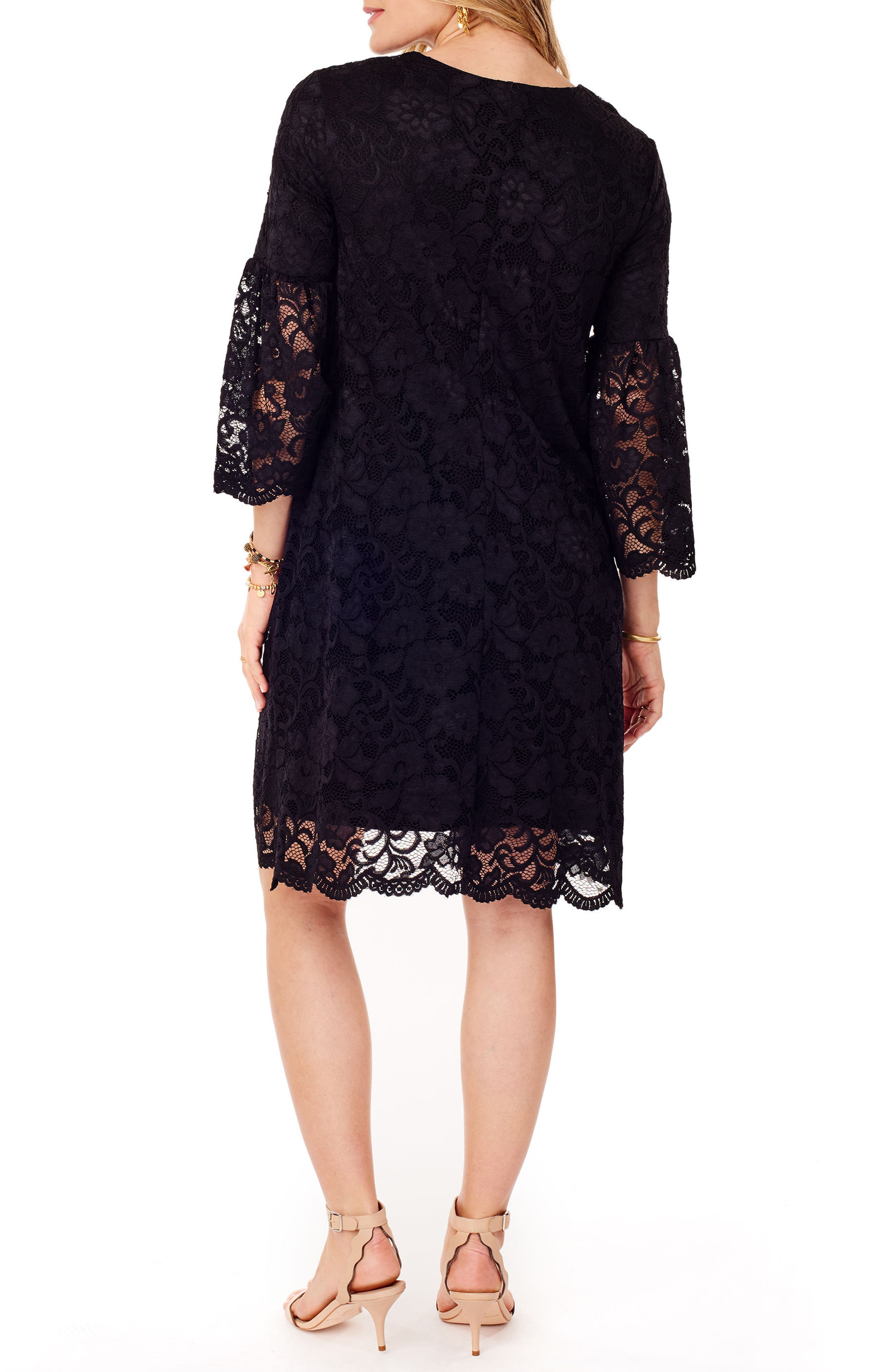 Lace Bell Sleeve Maternity Dress,                             Alternate thumbnail 2, color,                             006
