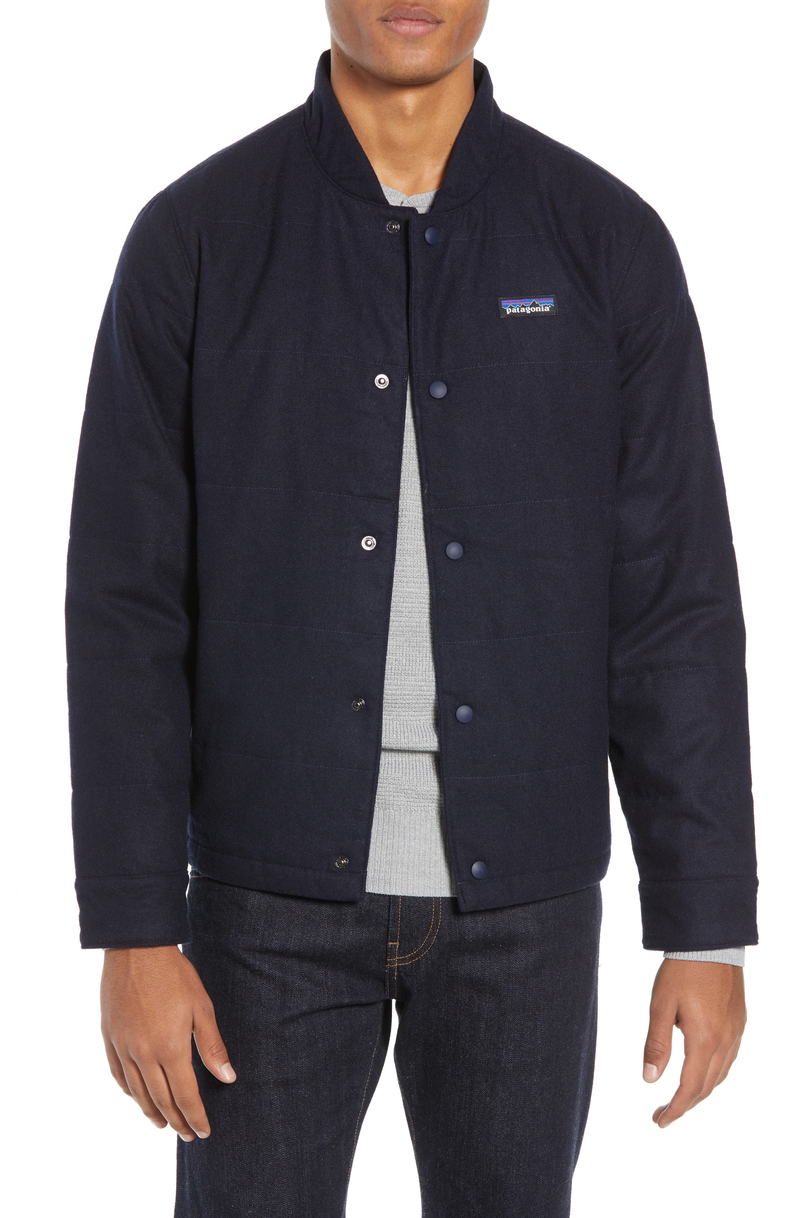 Patagonia Recycled Woolyester Bomber Jacket, Blue