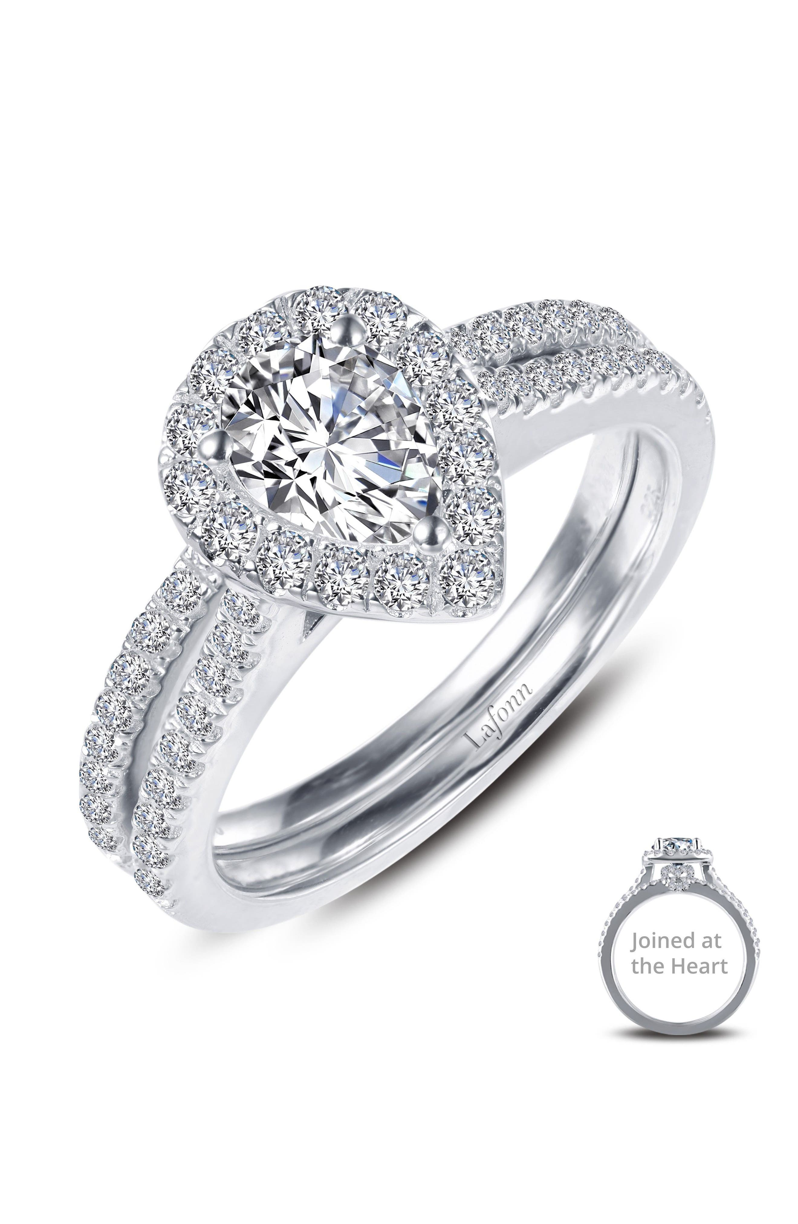Joined at the Heart Pear-Shaped Halo Ring,                             Alternate thumbnail 3, color,                             SILVER/ CLEAR