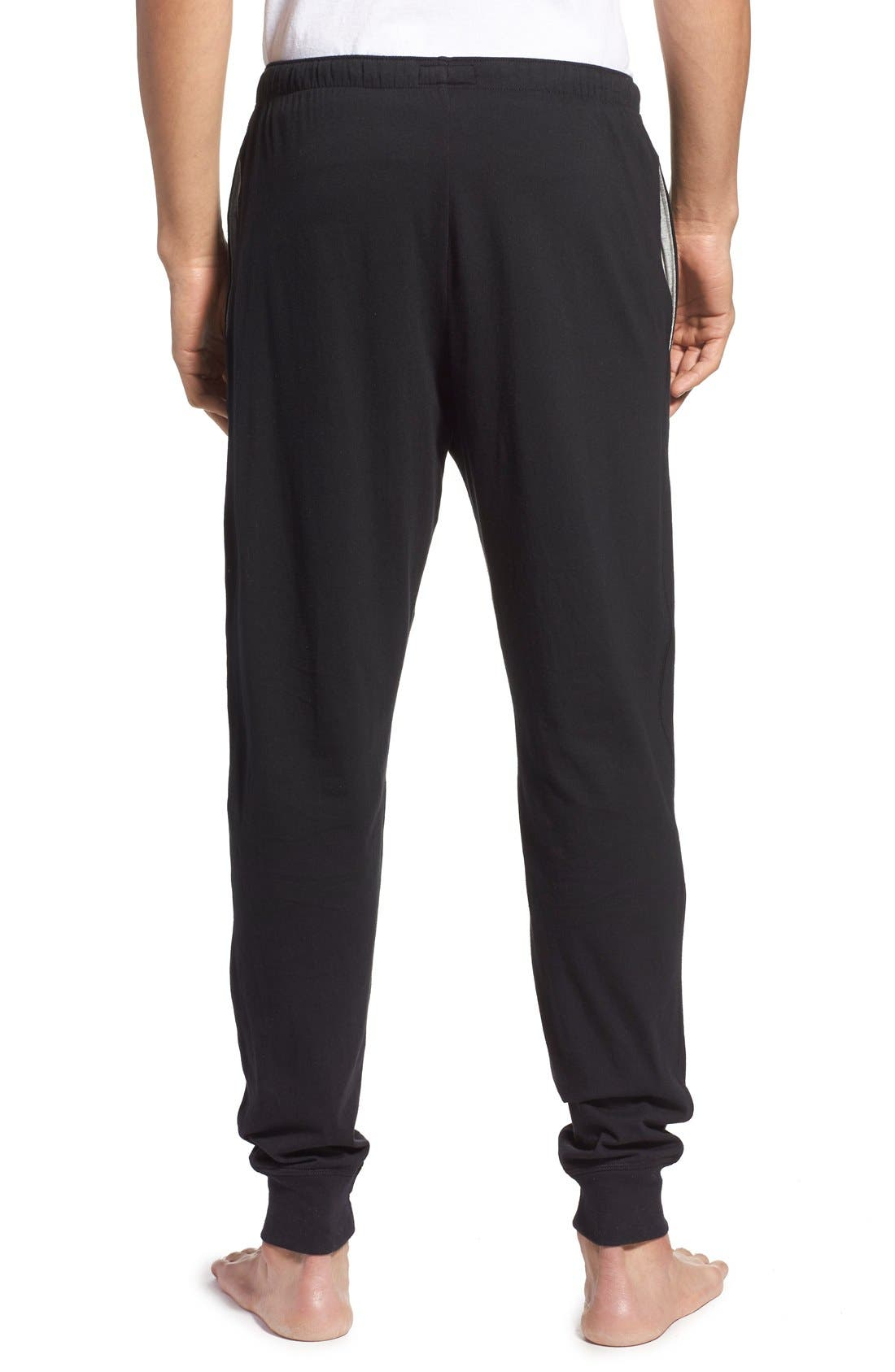 Relaxed Fit Cotton Knit Lounge Jogger Pants,                             Alternate thumbnail 2, color,                             BLACK