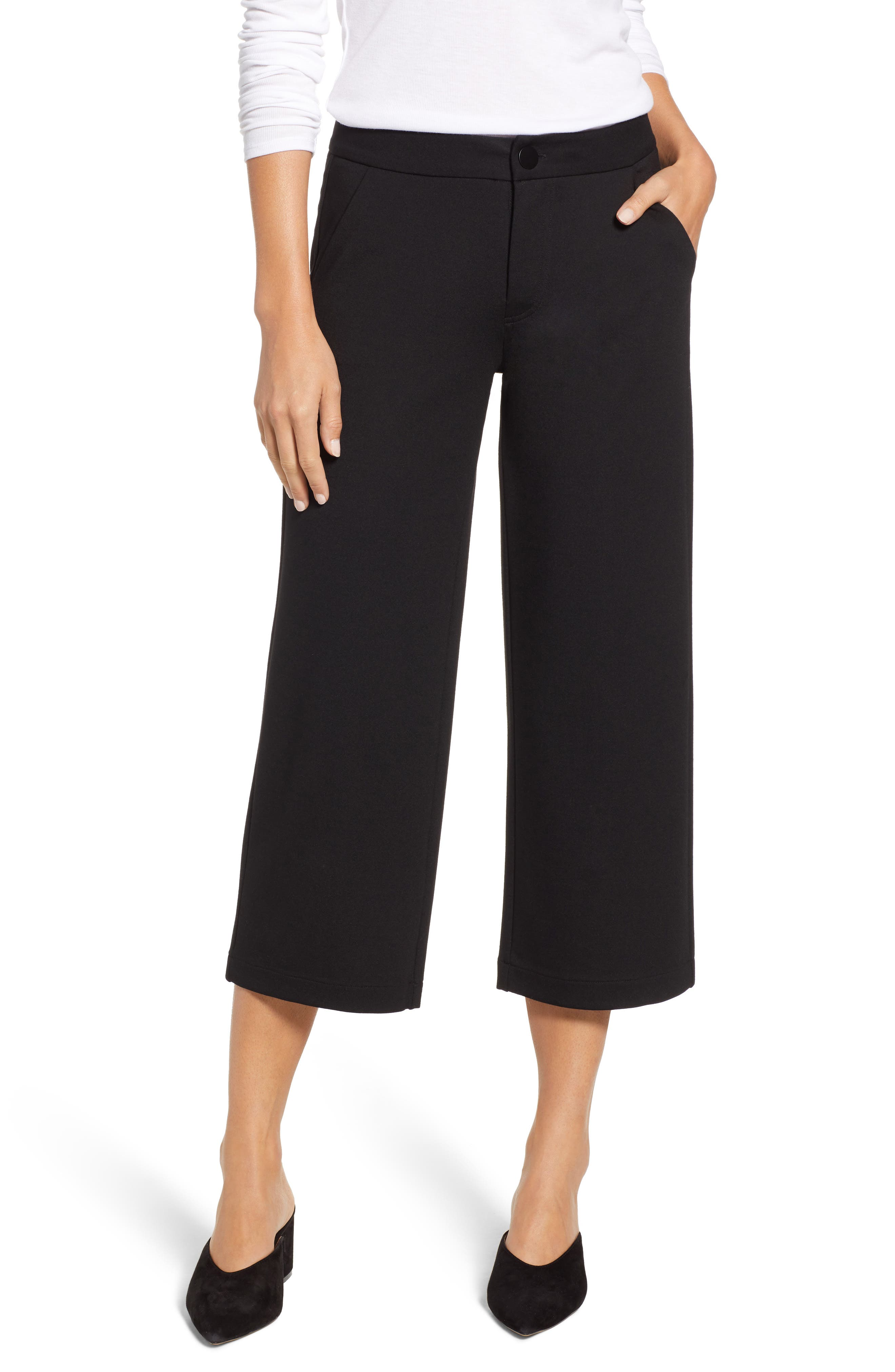 Blair Crop Wide Leg Ponte Pants, Main, color, BLACK