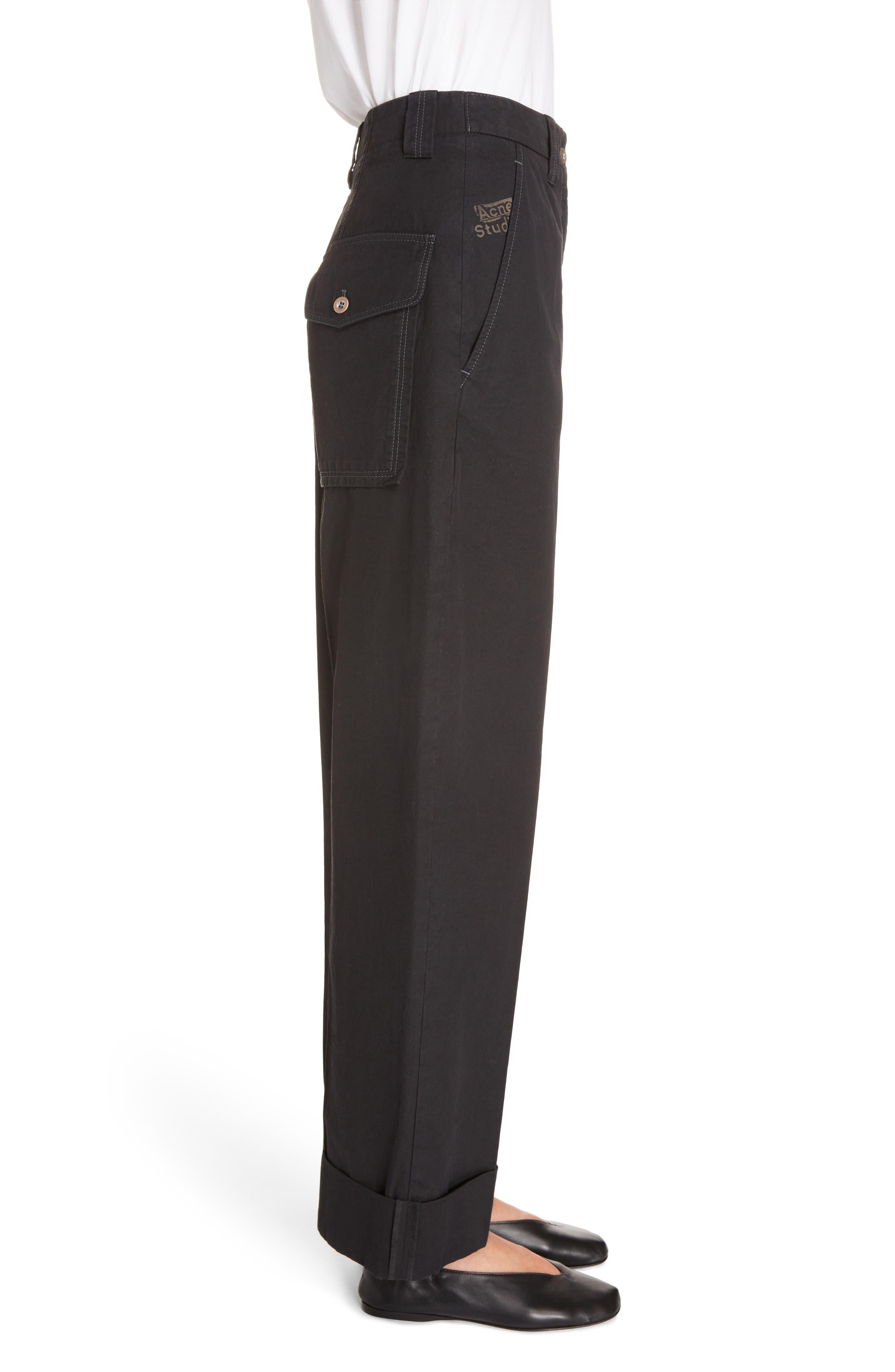 Madya Cuffed Cotton Pants,                             Alternate thumbnail 3, color,                             001