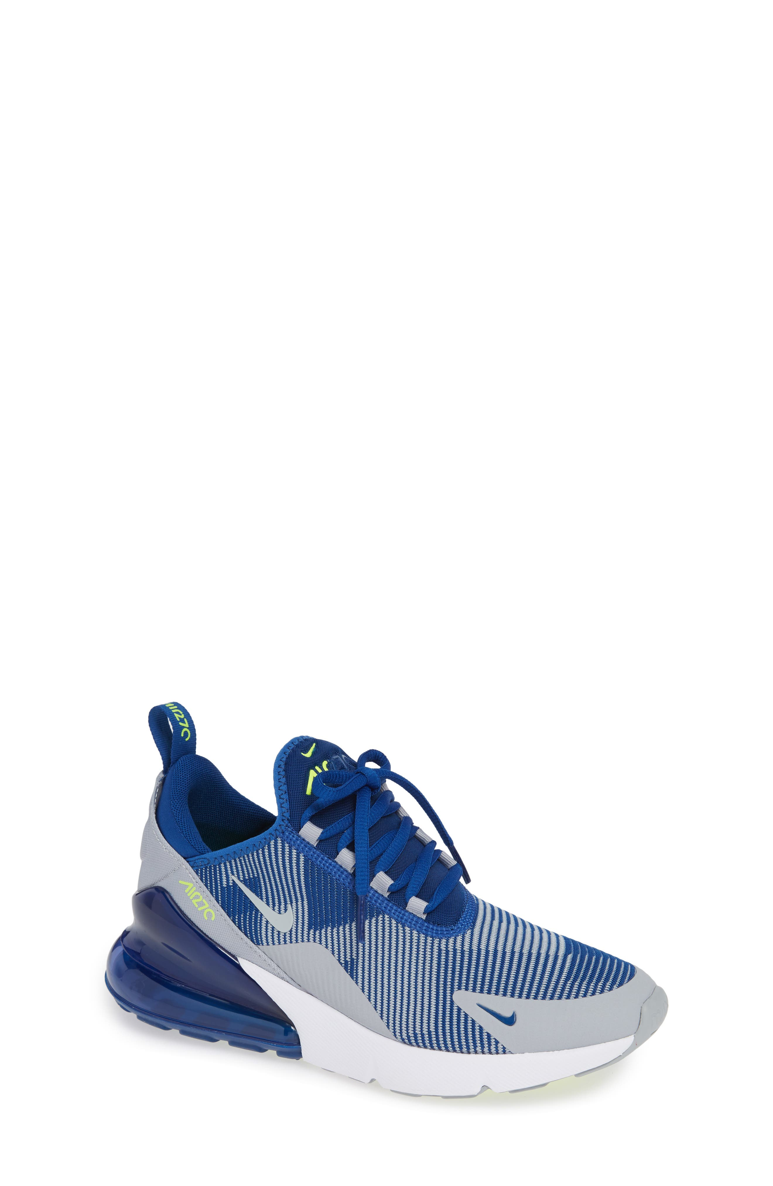 Air Max 270 Sneaker, Main, color, BLUE/ GREY/ VOLT/ WHITE