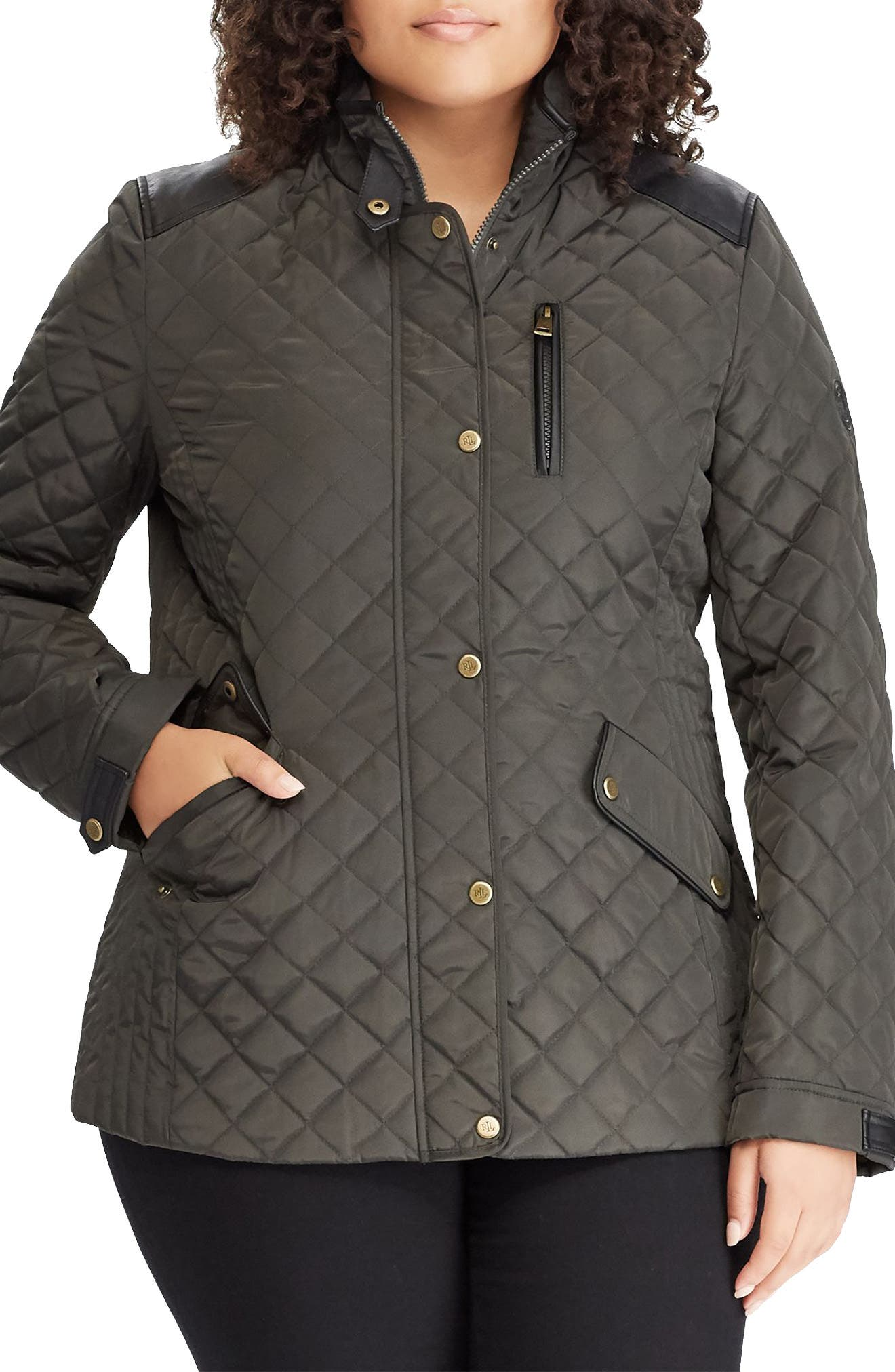 LAUREN RALPH LAUREN Quilted Jacket with Faux Leather Trim, Main, color, 300