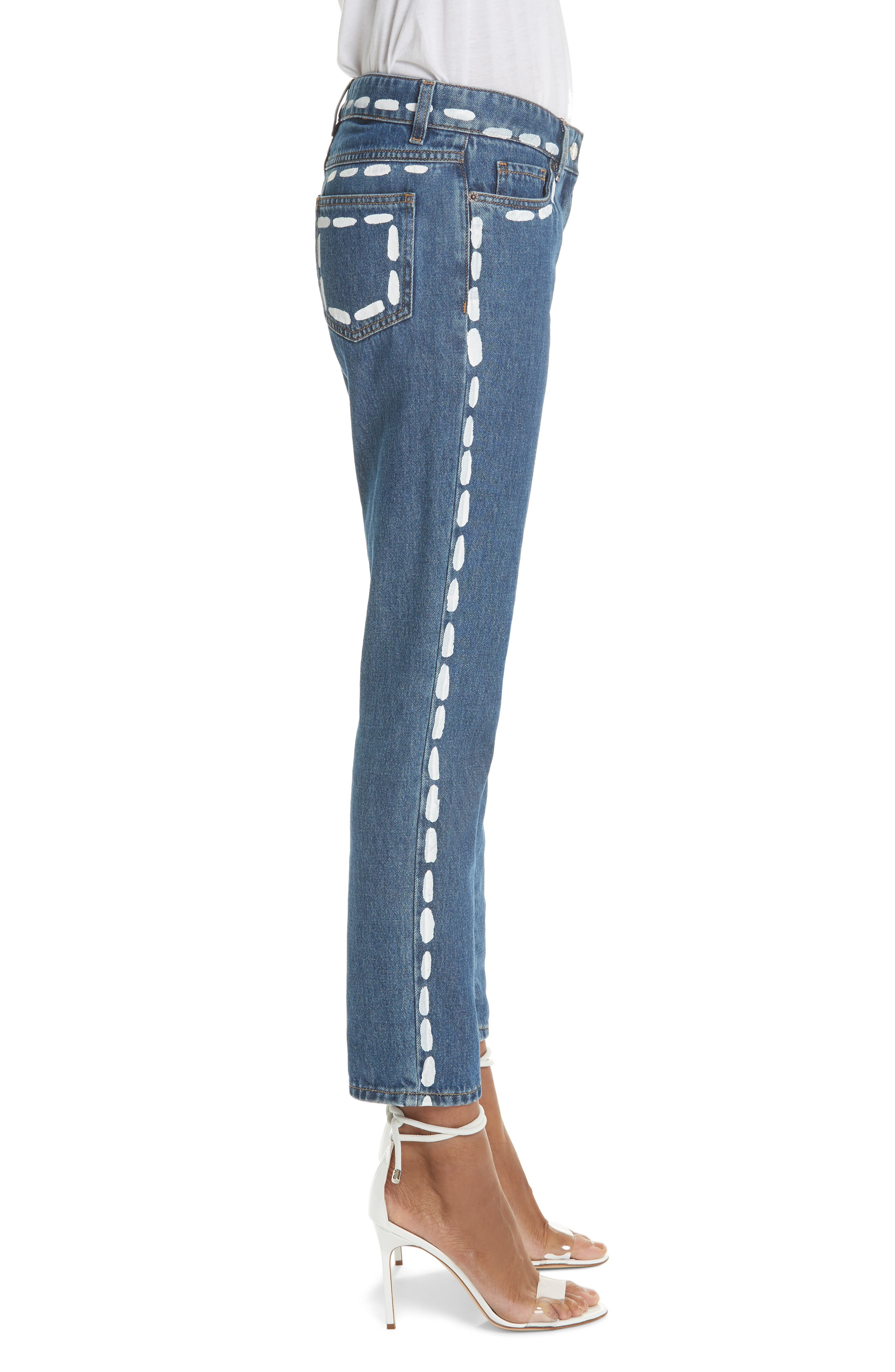 MOSCHINO,                             Dotted Line Straight Leg Jeans,                             Alternate thumbnail 3, color,                             DENIM