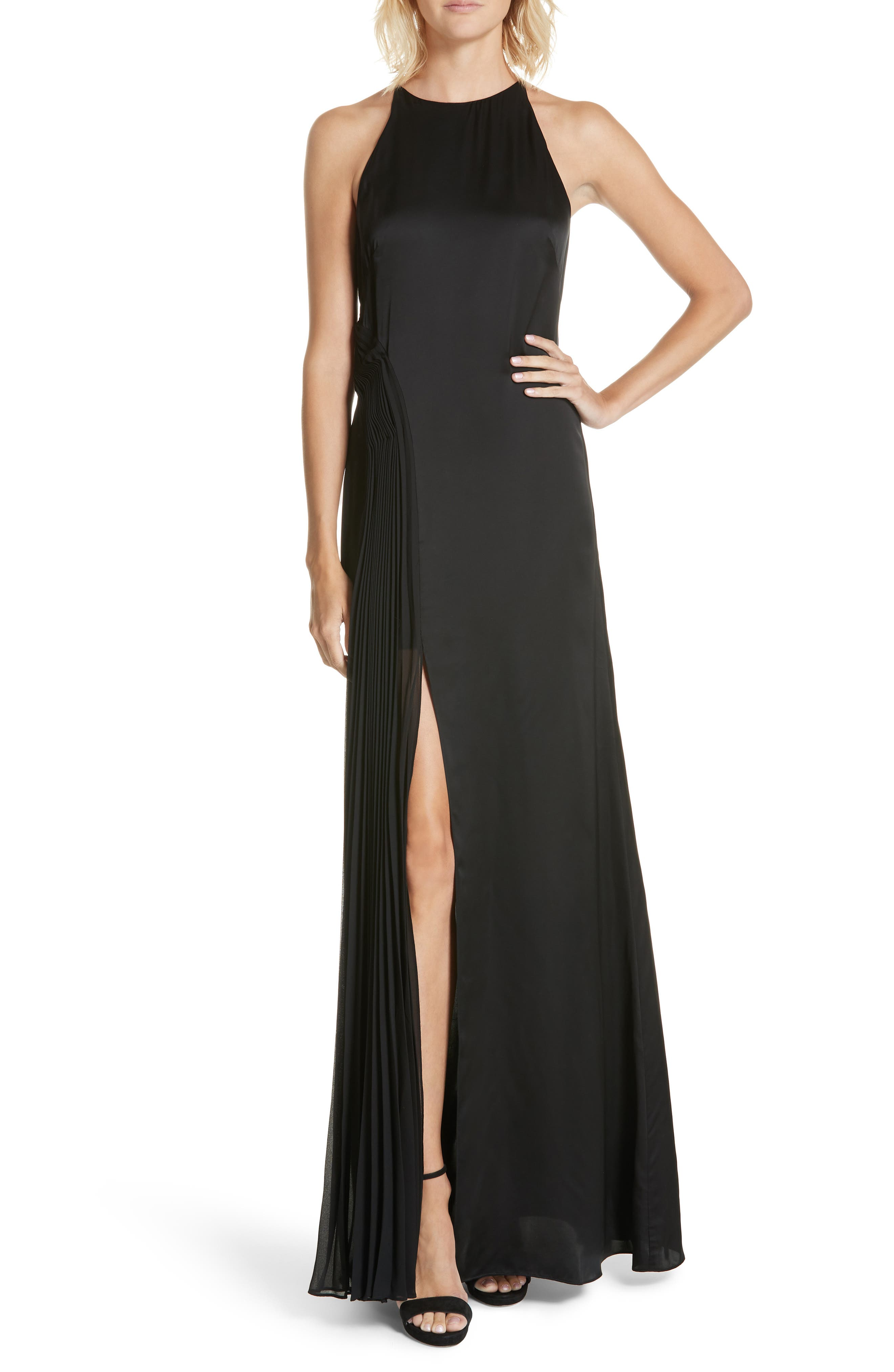 Amur Erica Pleated Panel Gown, Black