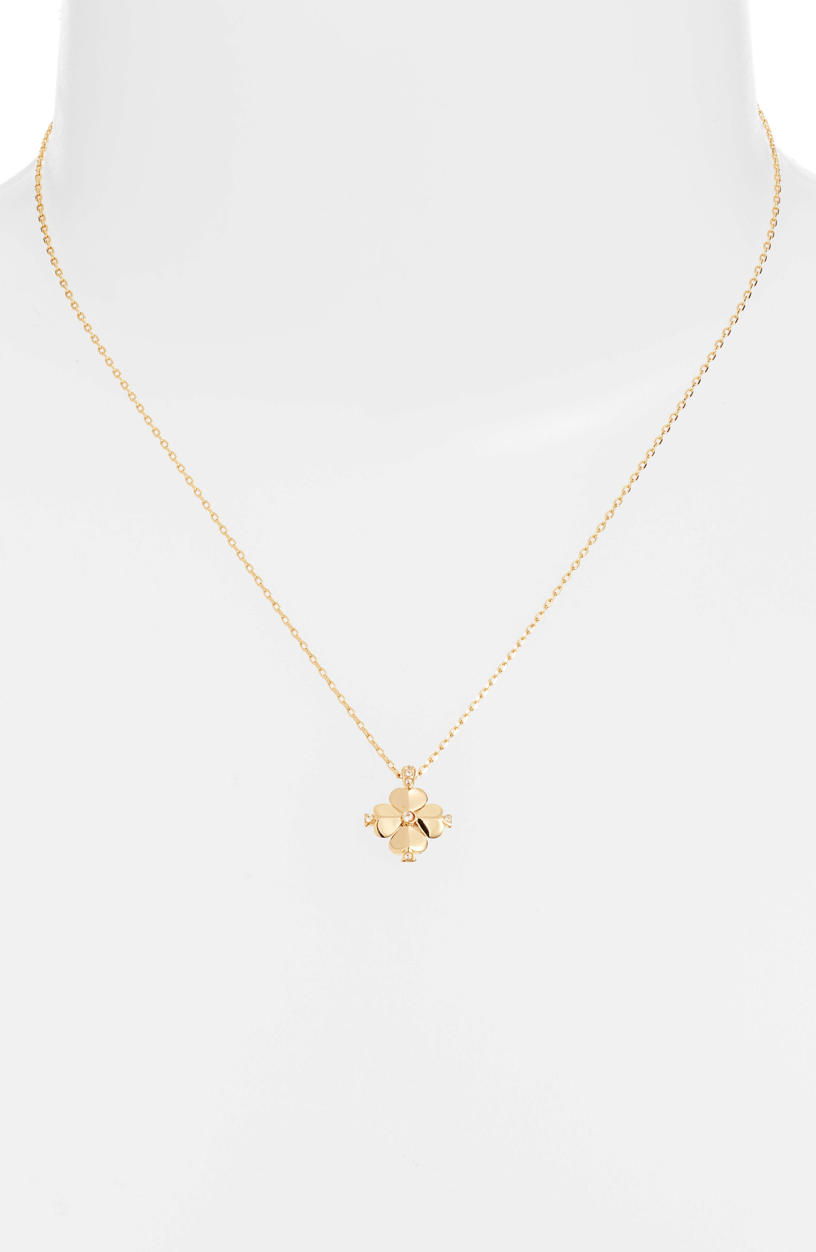 KATE SPADE NEW YORK,                             spade flower pendant necklace,                             Alternate thumbnail 2, color,                             CLEAR/ GOLD