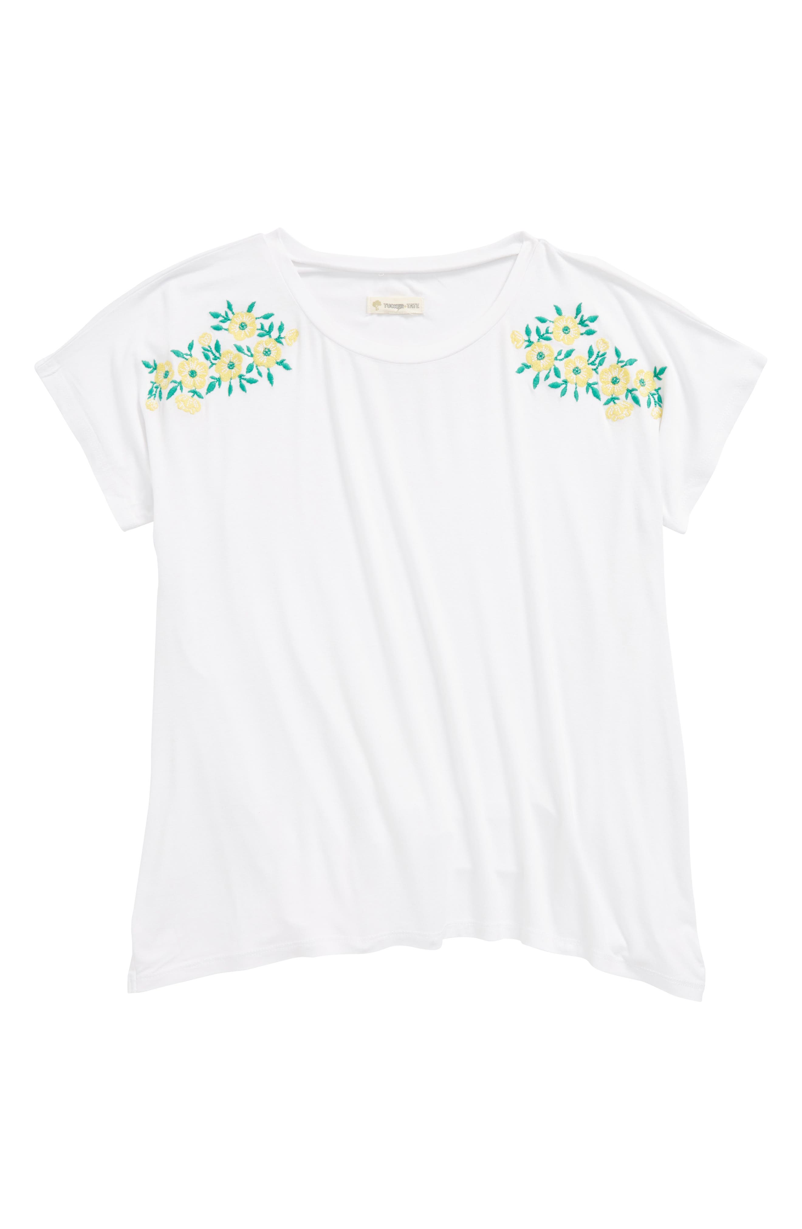 Embroidered Tee,                         Main,                         color, WHITE