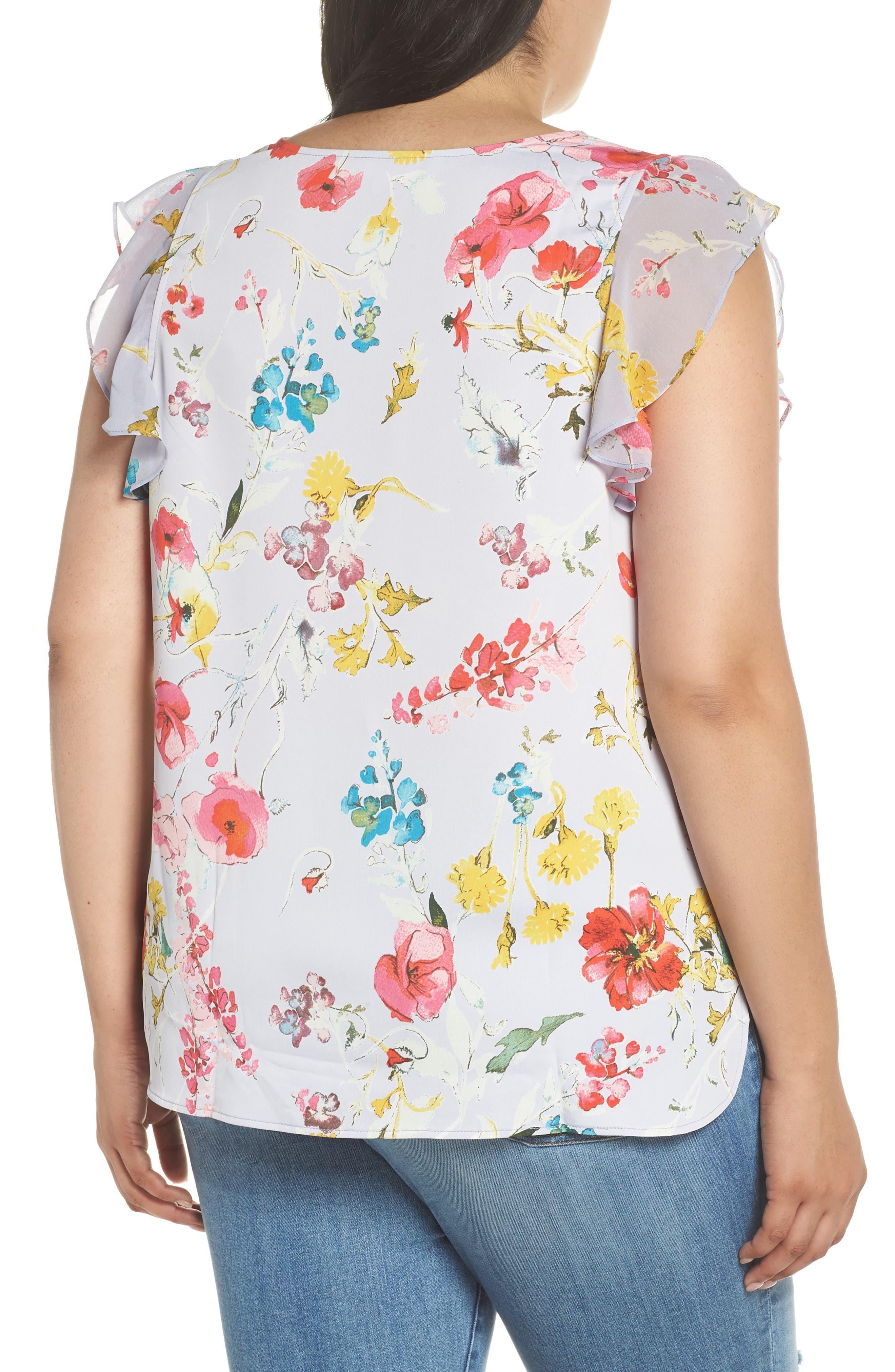 Floral Ruffle Top,                             Alternate thumbnail 4, color,
