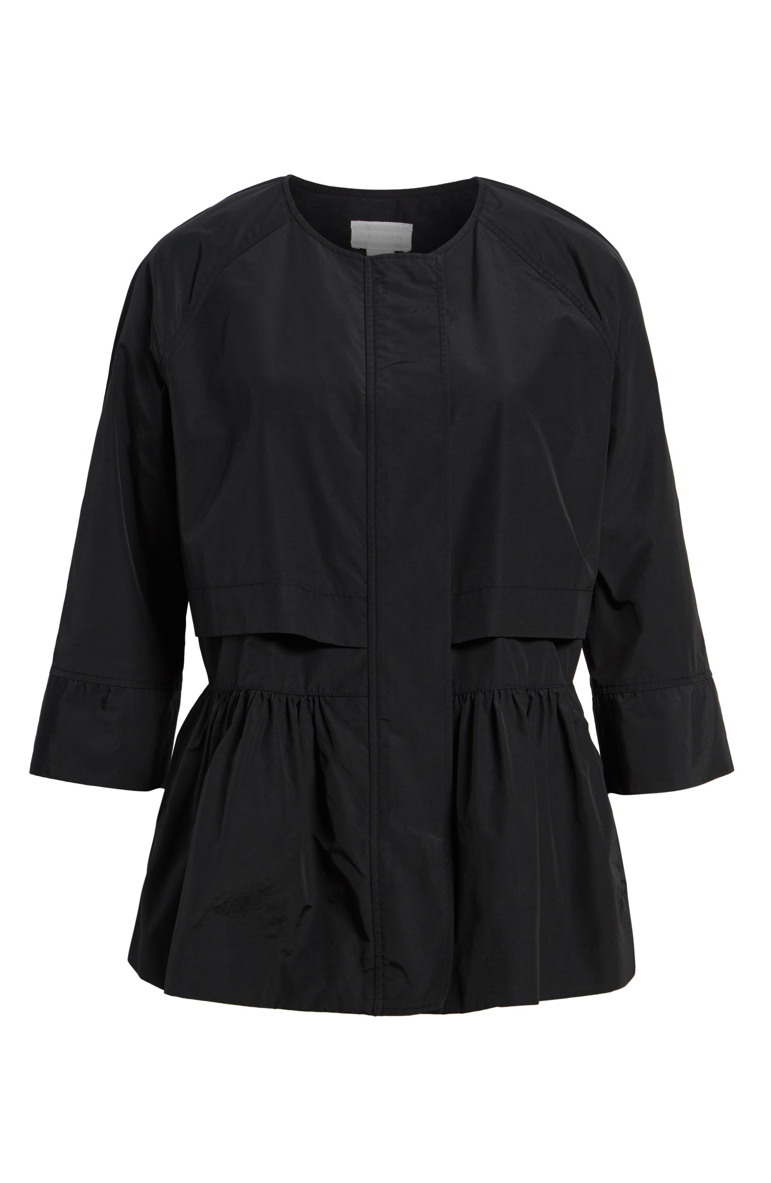 Peplum Cotton Blend Utility Jacket,                             Alternate thumbnail 6, color,                             001