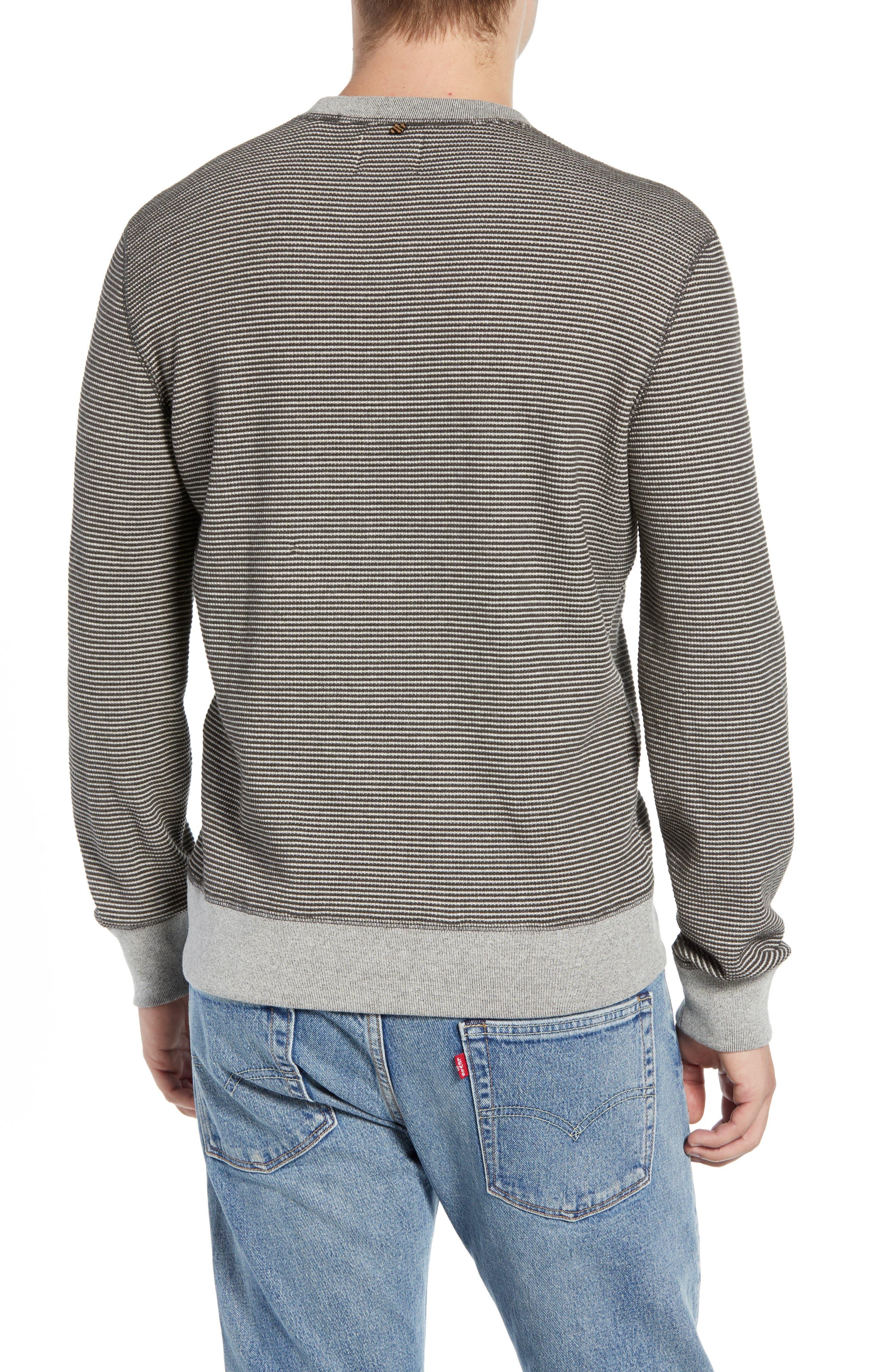 Regular Fit Waffle Crewneck Sweatshirt,                             Alternate thumbnail 2, color,                             CHARCOAL