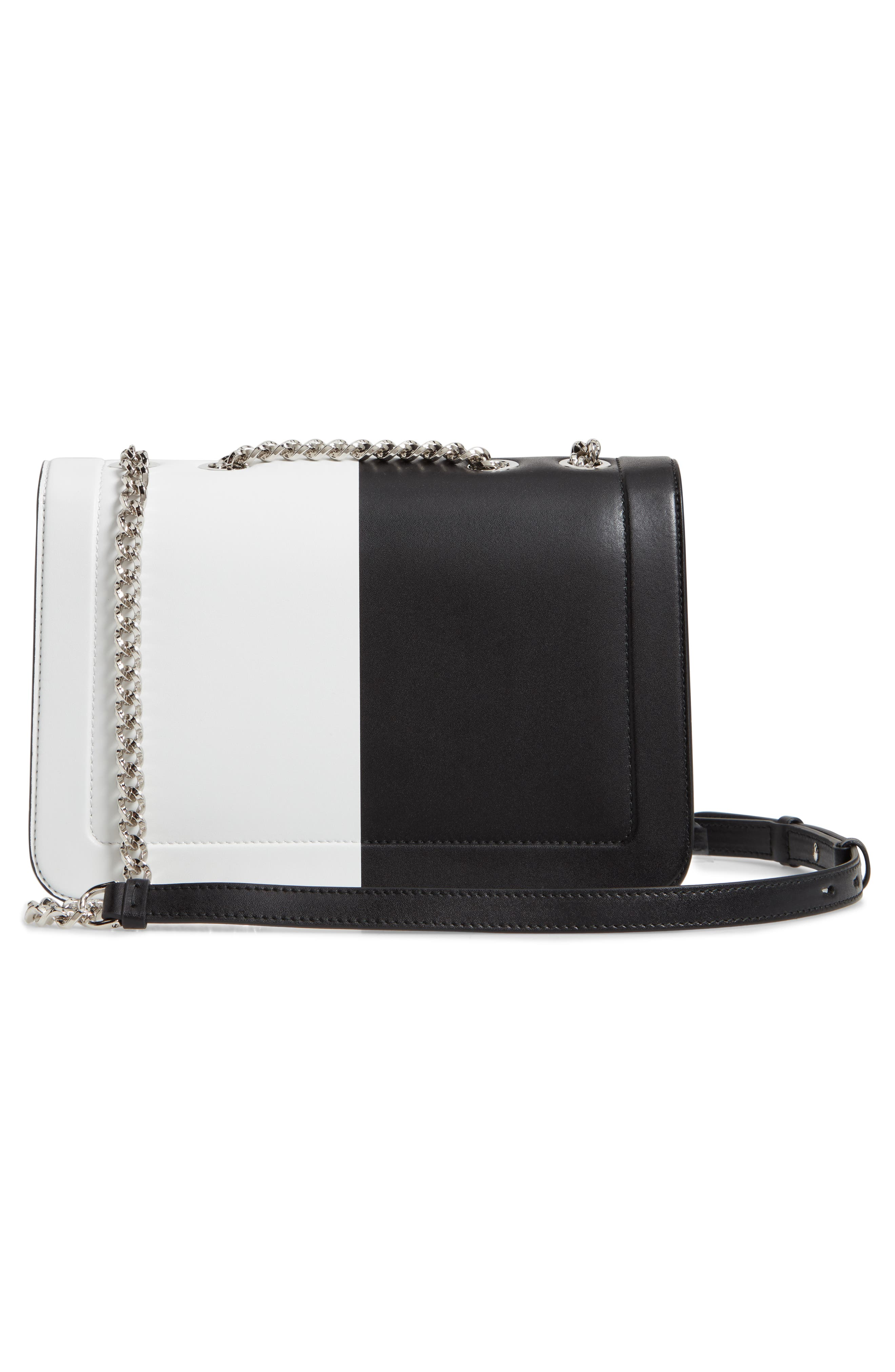 Vara Colorblock Leather Shoulder Bag,                             Alternate thumbnail 3, color,                             BLACK/ WHITE