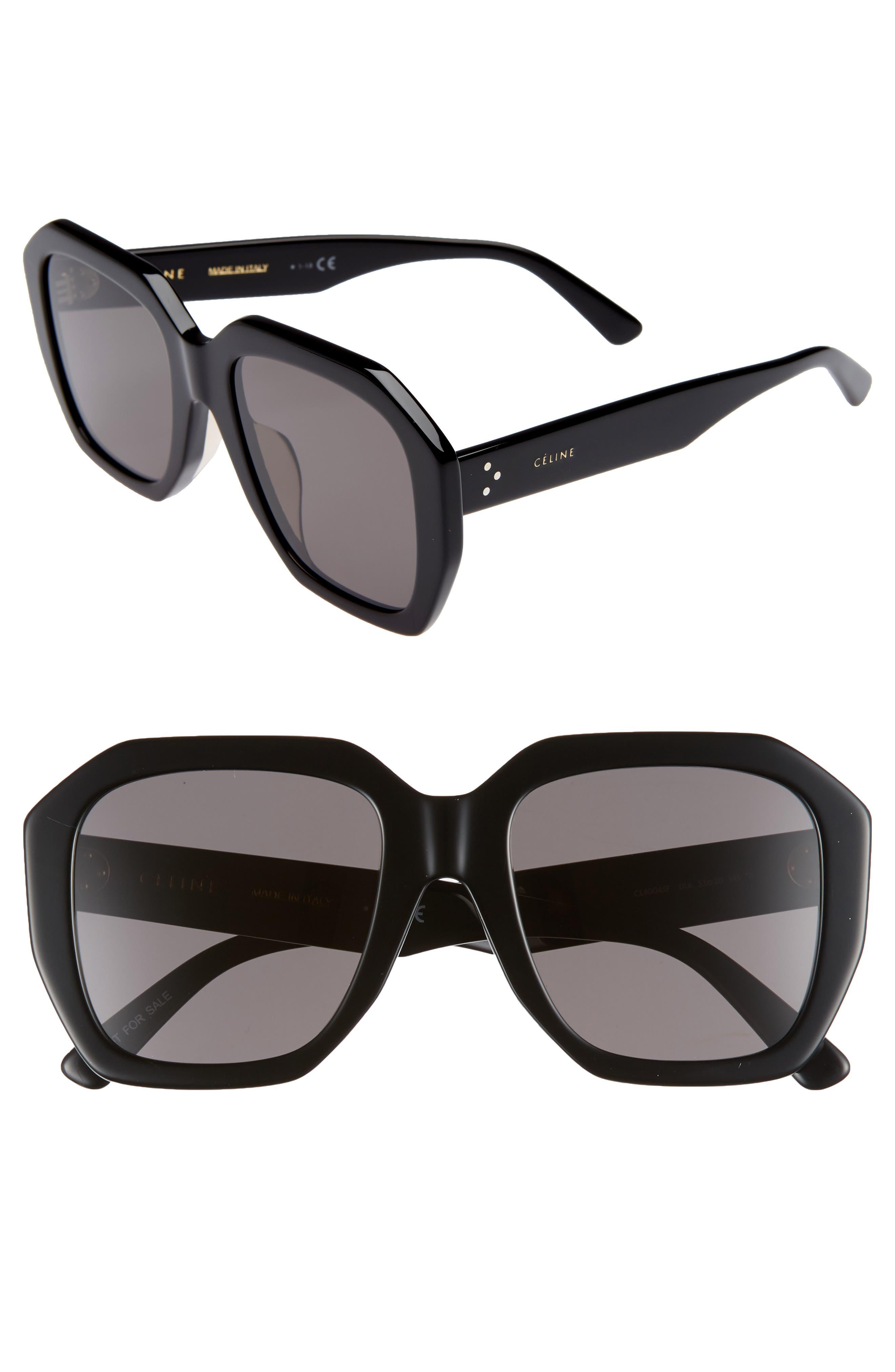 Square Universal-Fit Acetate Sunglasses in Black