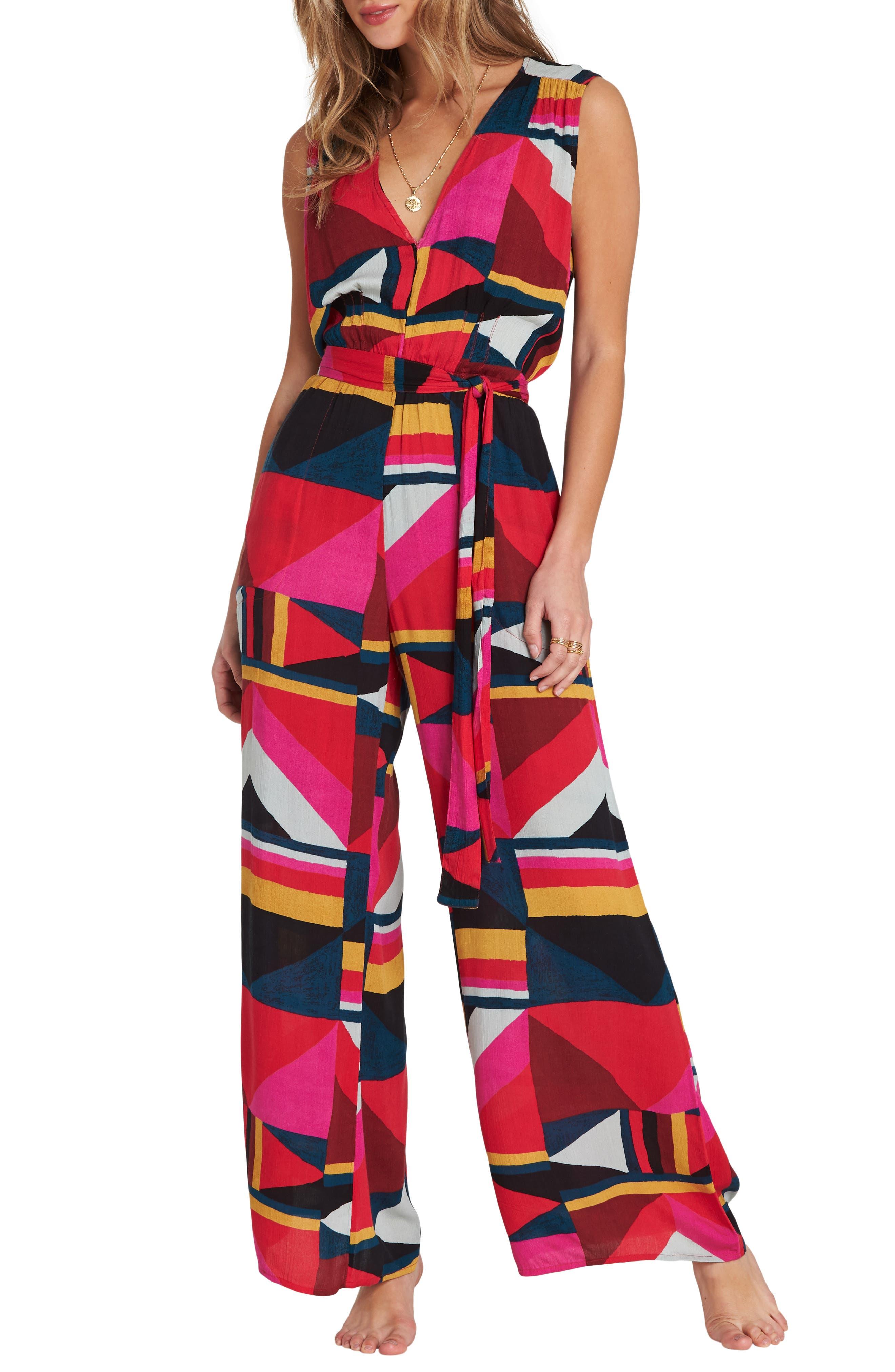 60s – 70s Pants, Jeans, Hippie, Bell Bottoms, Jumpsuits Womens Billabong Seeing Tricks Jumpsuit Size Large - Red $59.95 AT vintagedancer.com