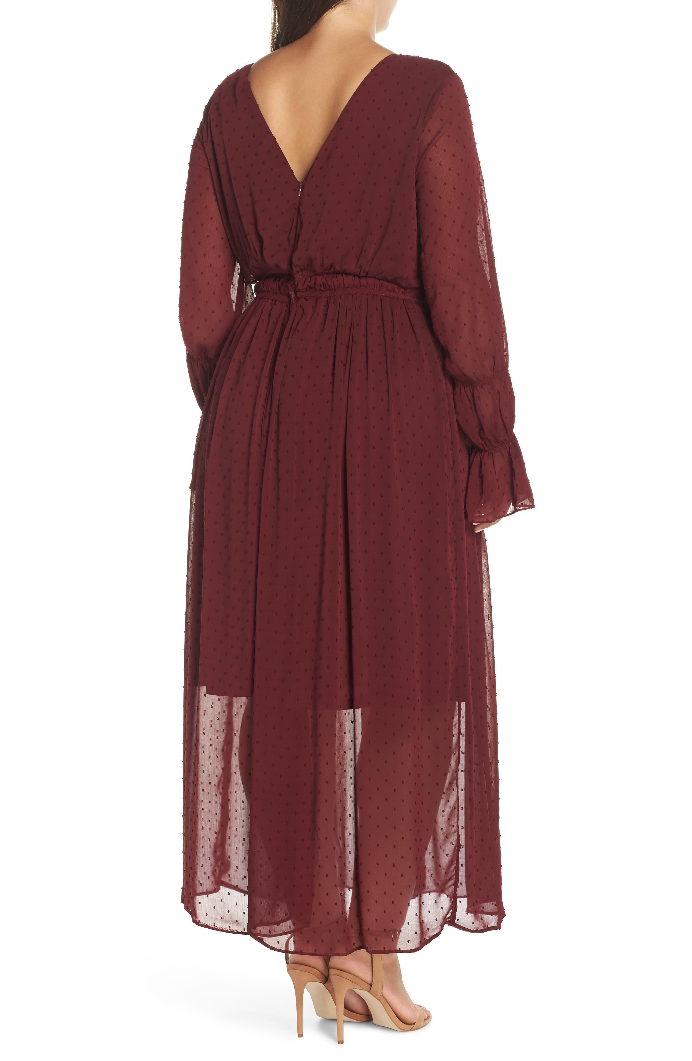 Dobby Maxi Dress,                             Alternate thumbnail 2, color,                             OXBLOOD