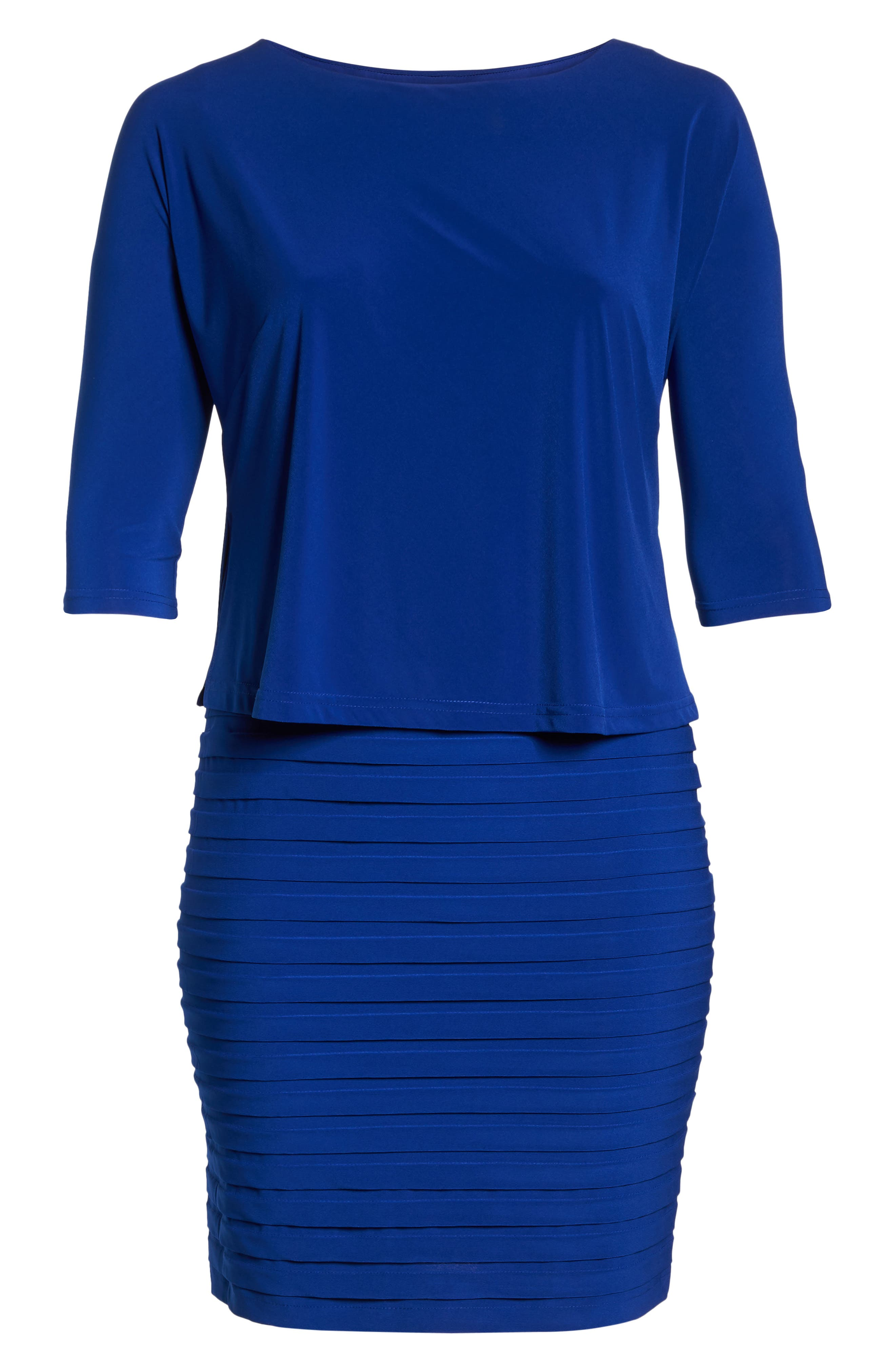 Shutter Pleat Popover Sheath Dress,                             Alternate thumbnail 7, color,                             SAPPHIRE