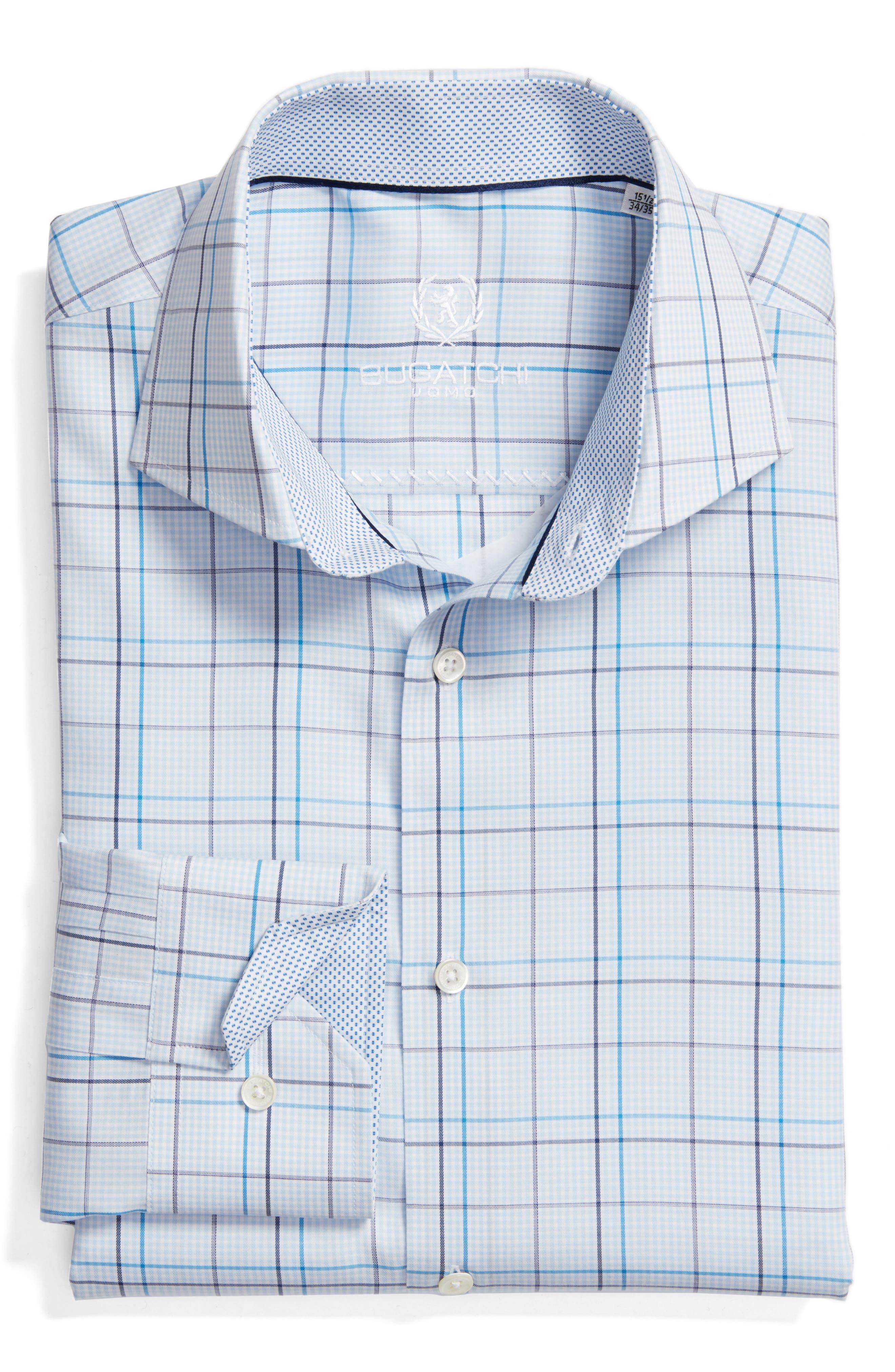 Trim Fit Plaid Dress Shirt,                             Main thumbnail 1, color,