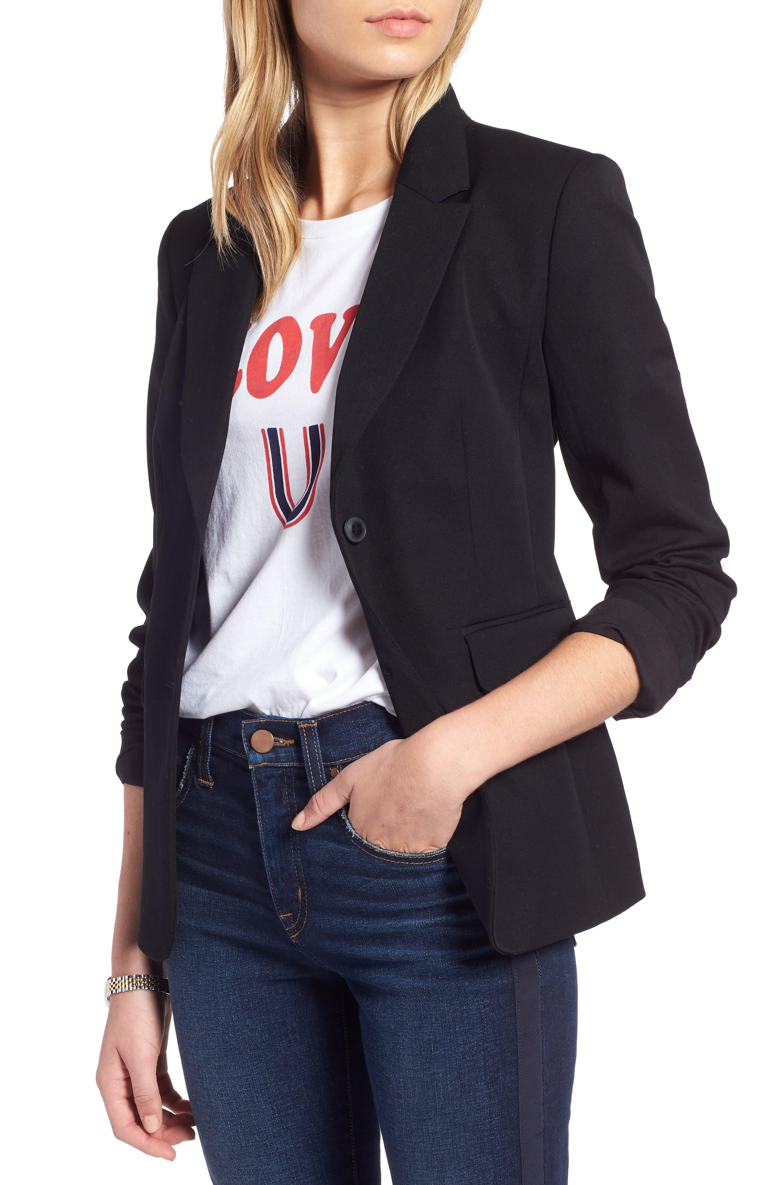 Stretch Cotton Twill Blazer, Main, color, BLACK