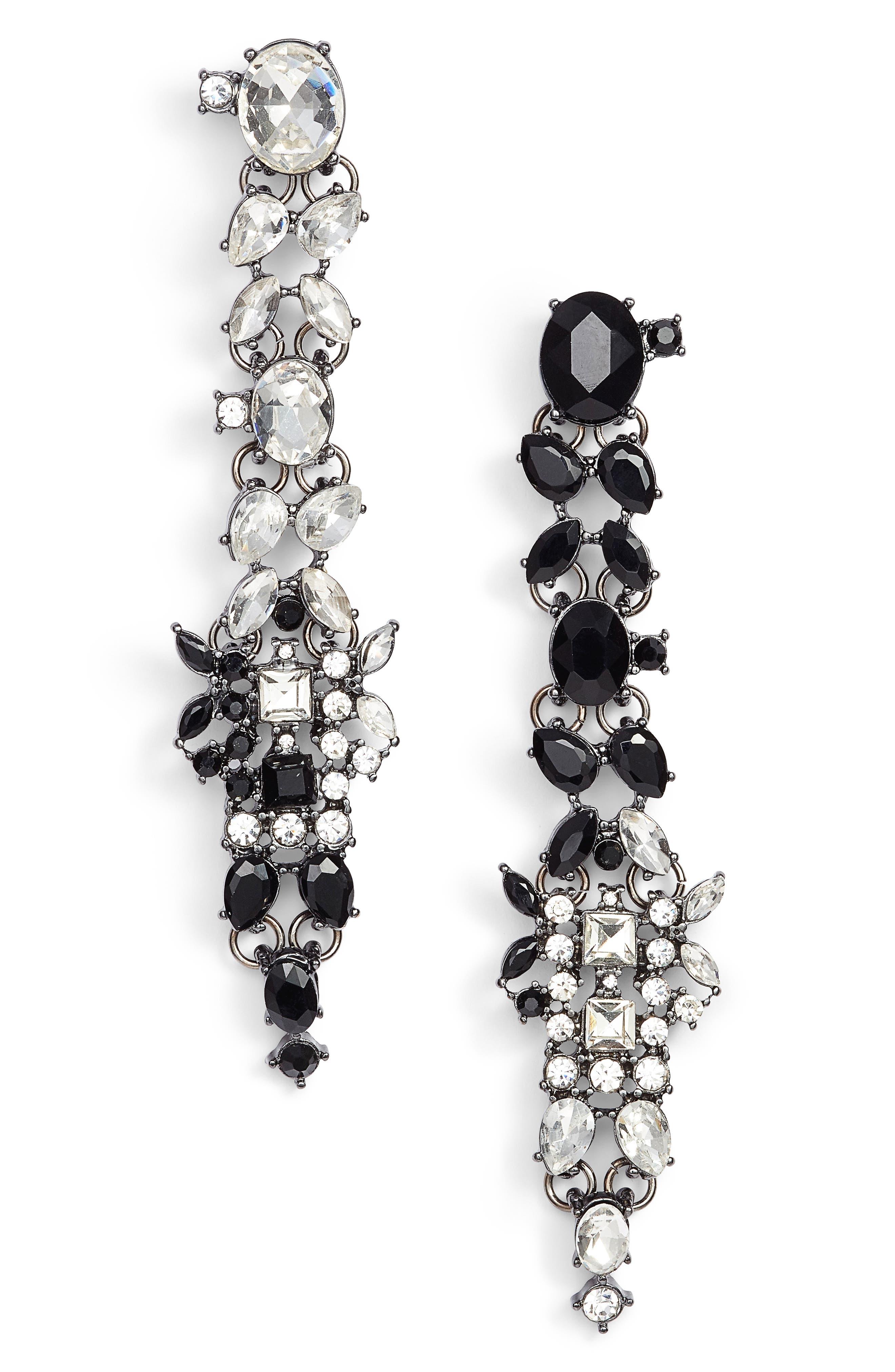 Crystal Drop Earrings,                             Main thumbnail 1, color,                             001