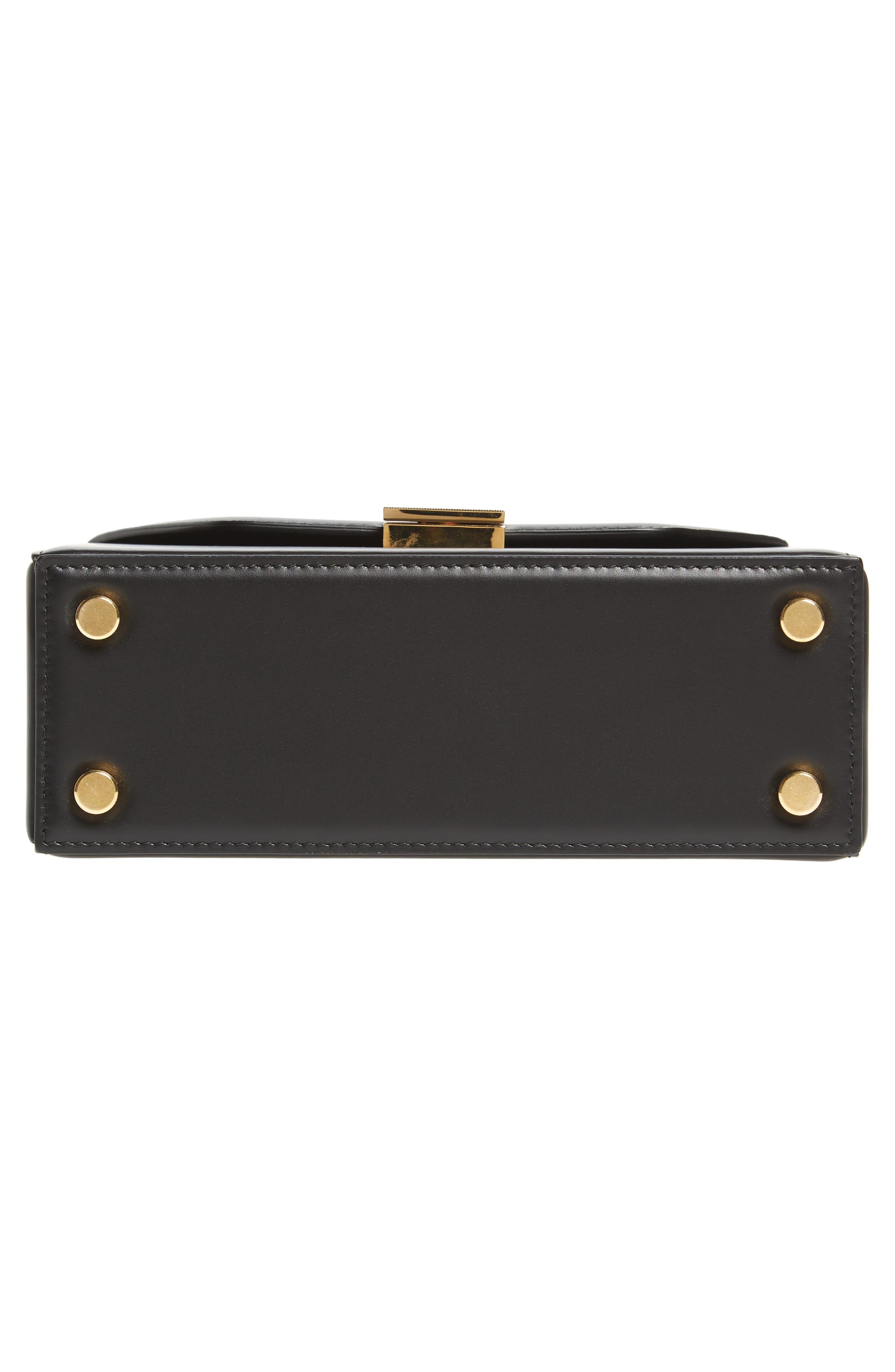 Mini Vanity Top Handle Box Bag,                             Alternate thumbnail 6, color,                             BLACK