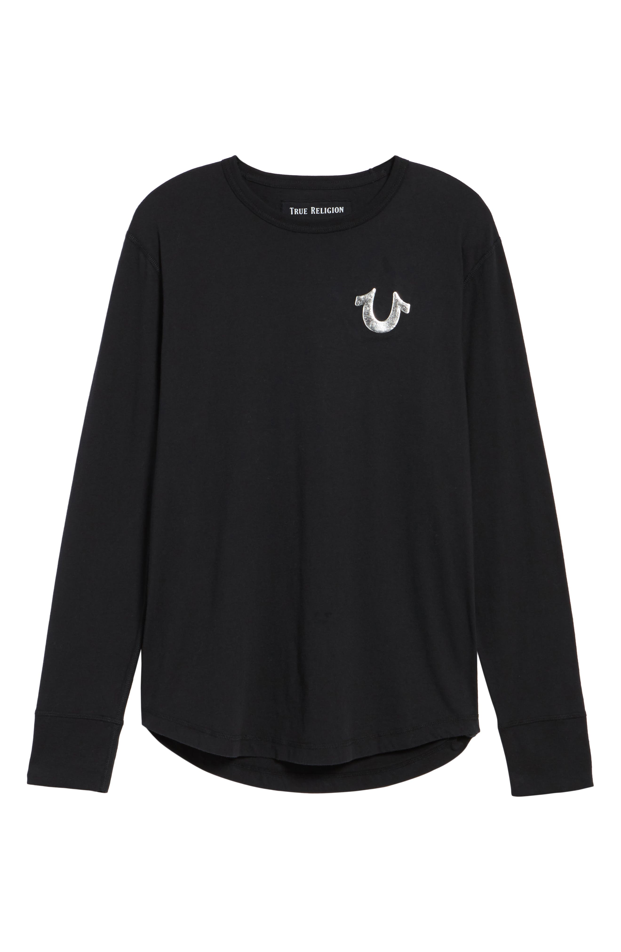 True Religion Core Metallic T-Shirt,                             Alternate thumbnail 6, color,                             001