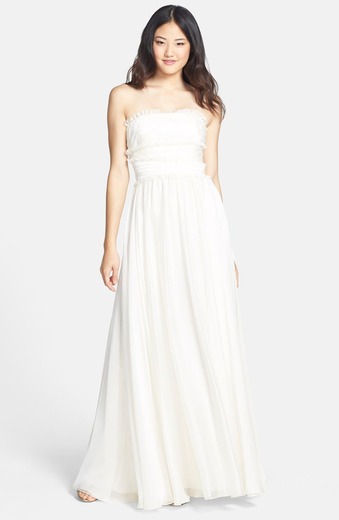 ML Monique Lhuillier Bridesmaids Strapless Chiffon Gown,                             Main thumbnail 17, color,