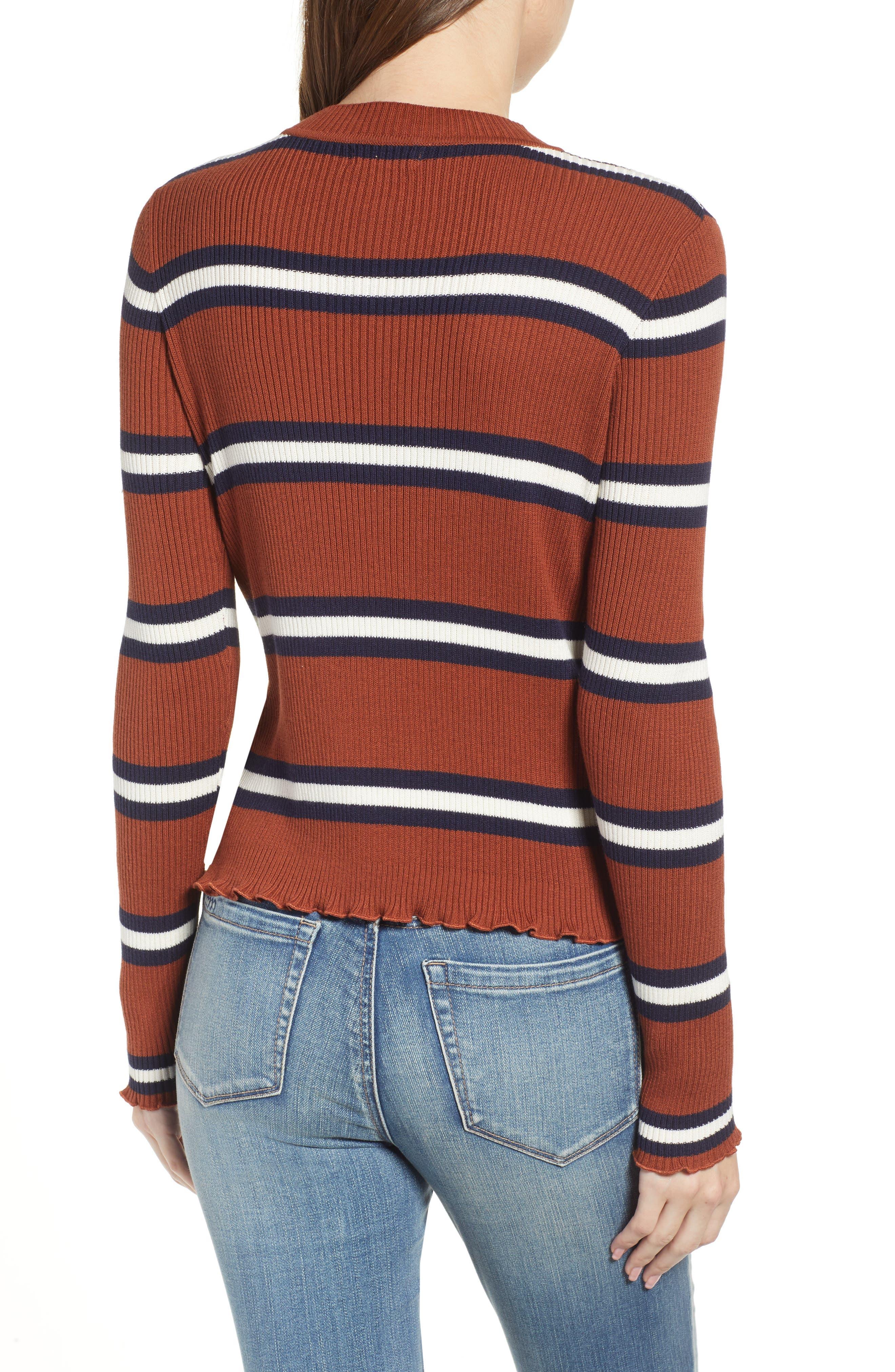Ribbed Lettuce Edge Stripe Sweater,                             Alternate thumbnail 2, color,                             RUST SEQUOIA CLEO STRIPE