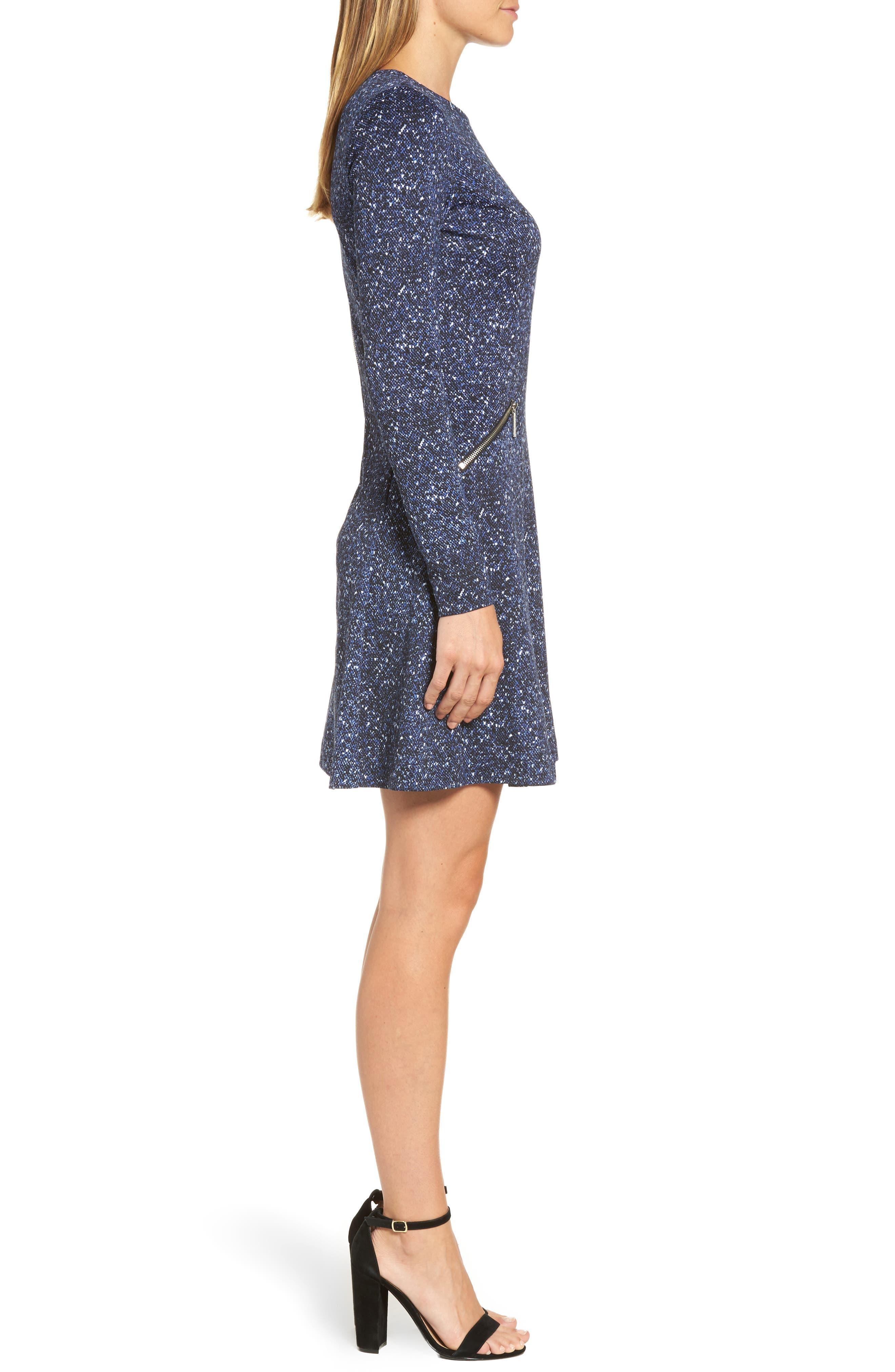 Tweed Print A-Line Dress,                             Alternate thumbnail 3, color,                             403