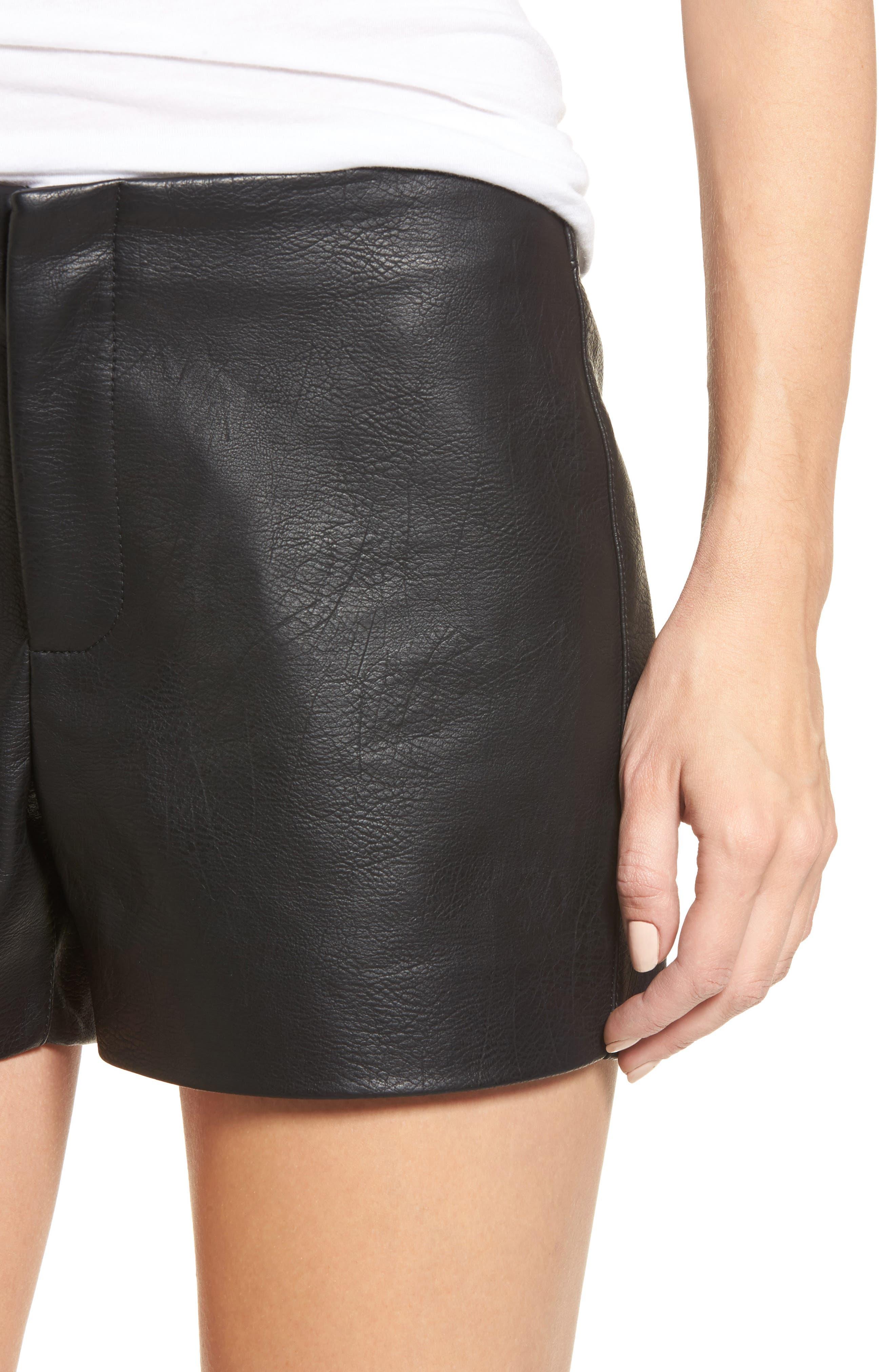 Faux Leather Shorts,                             Alternate thumbnail 4, color,                             001