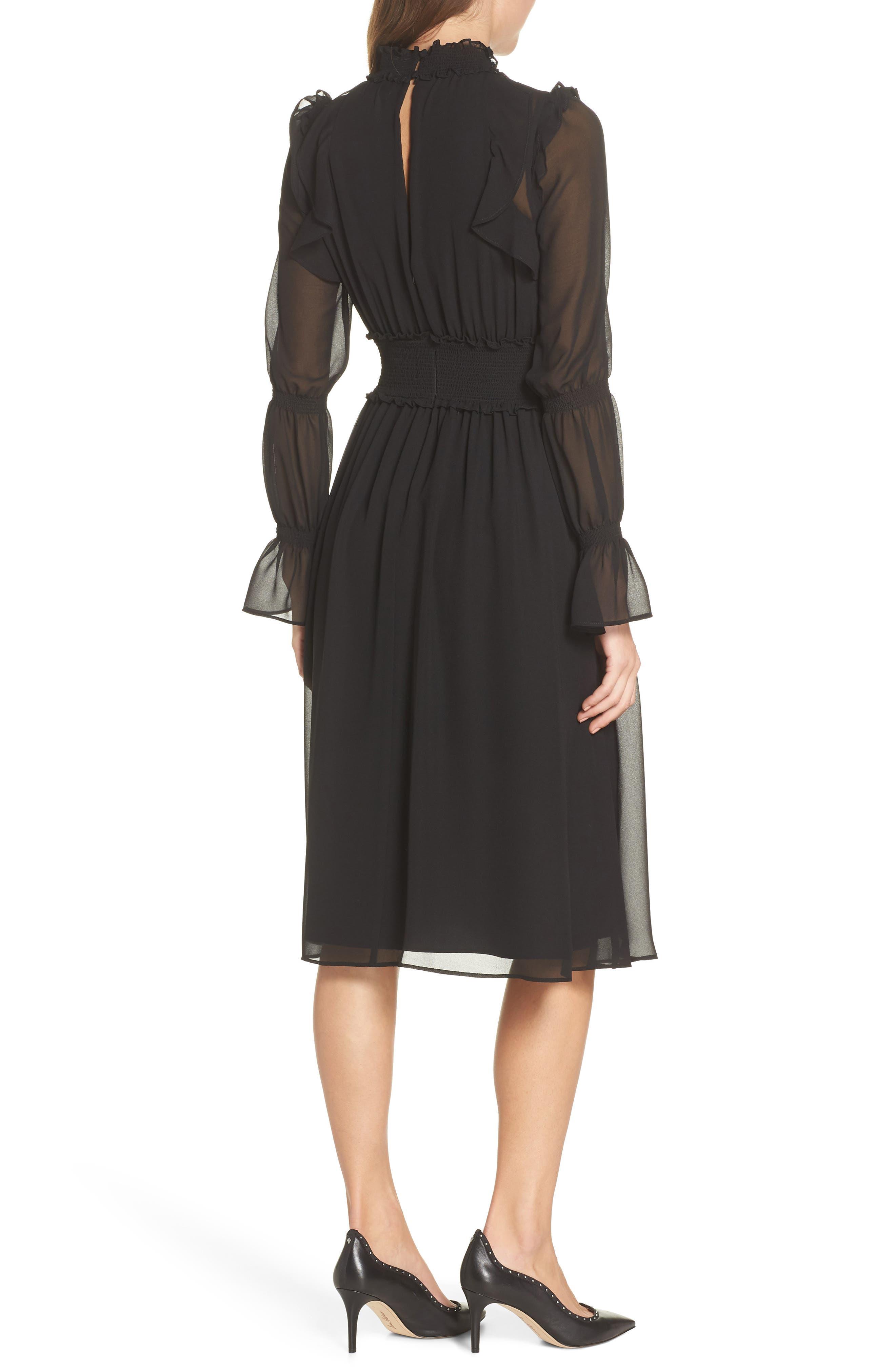 Ruffle Midi Dress,                             Alternate thumbnail 2, color,                             001