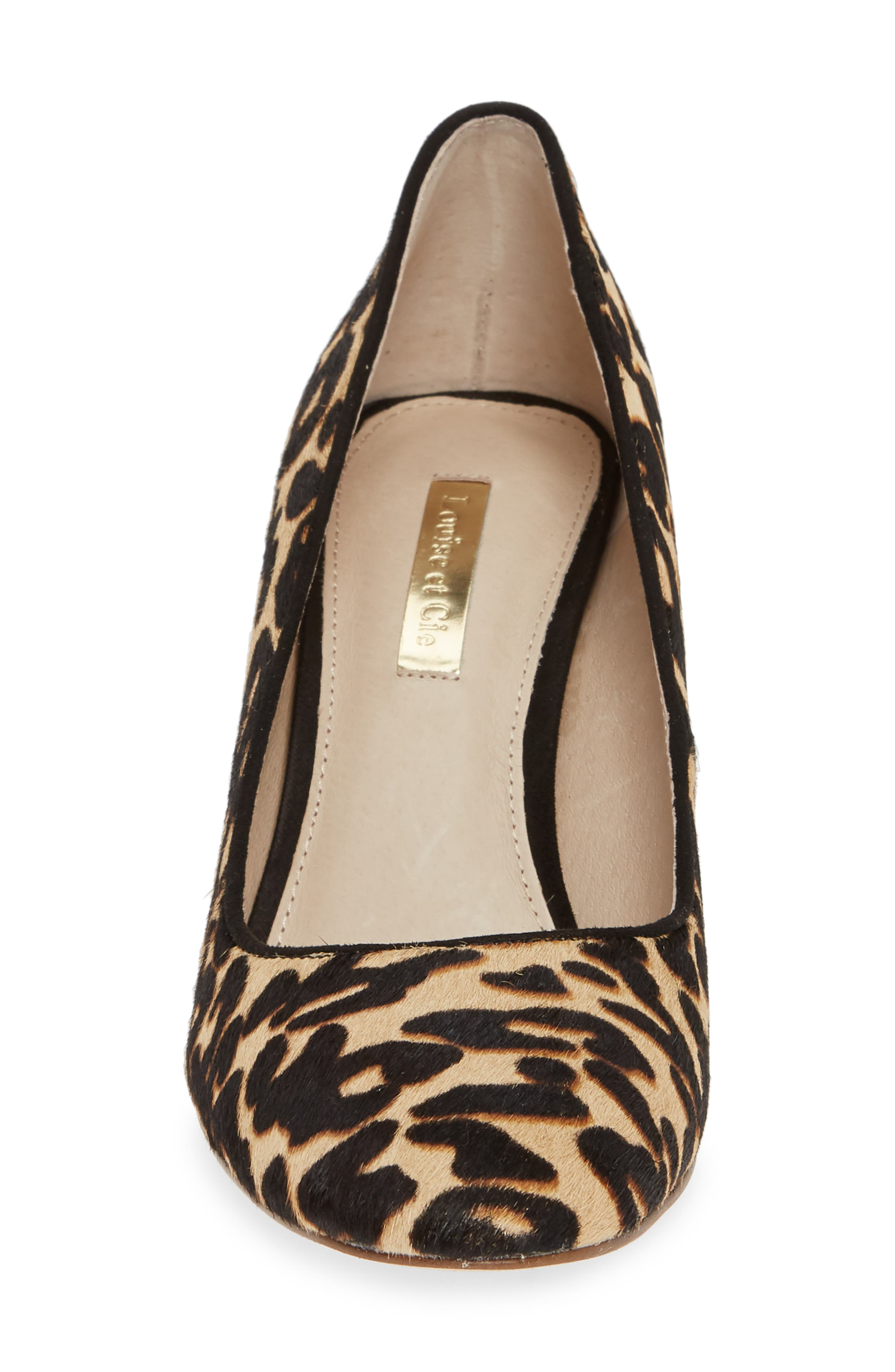 Jalzy Genuine Calf Hair Pump,                             Alternate thumbnail 4, color,                             LEOPARD