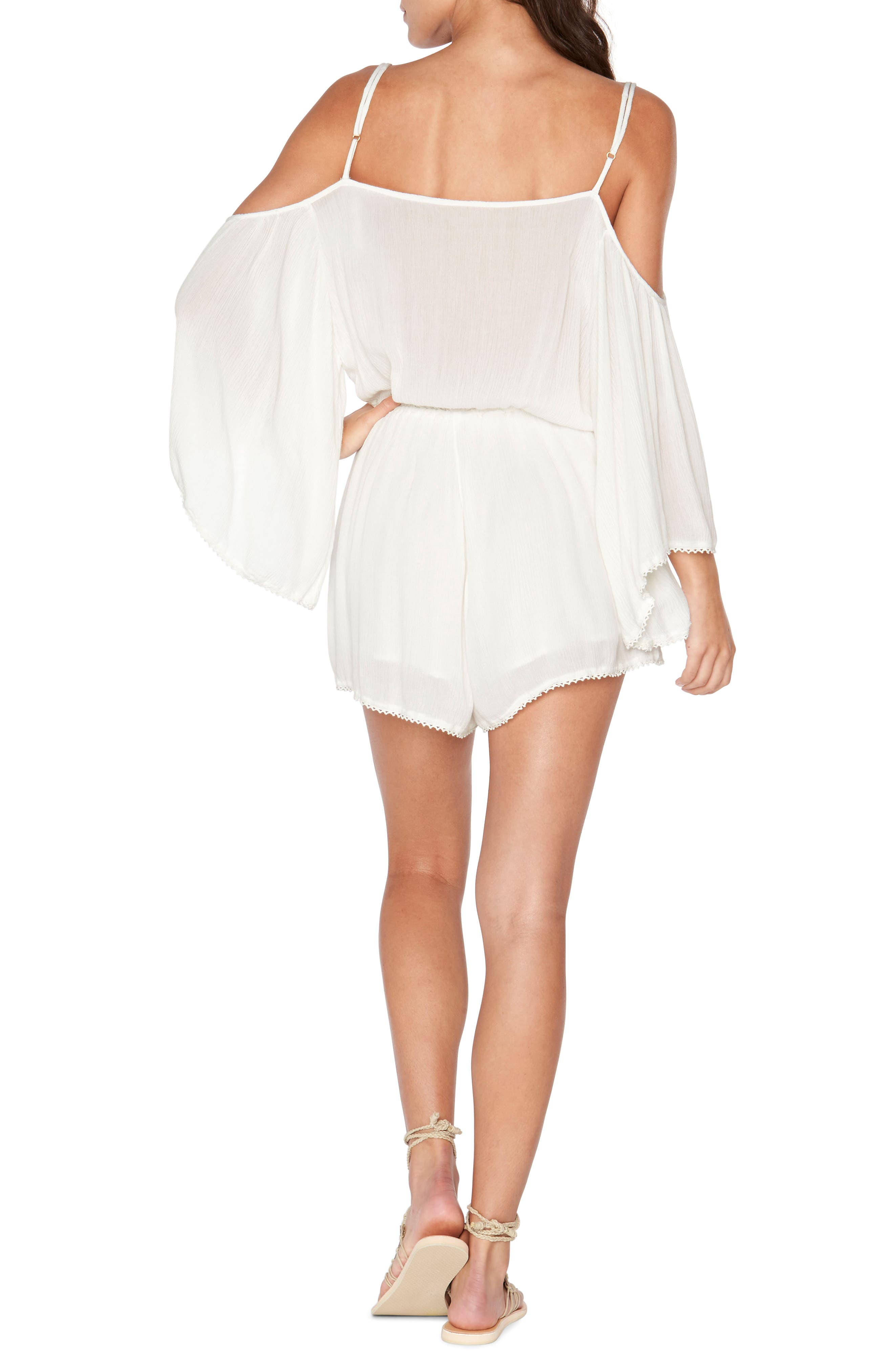 Soho Cold Shoulder Cover-Up Romper,                             Alternate thumbnail 4, color,