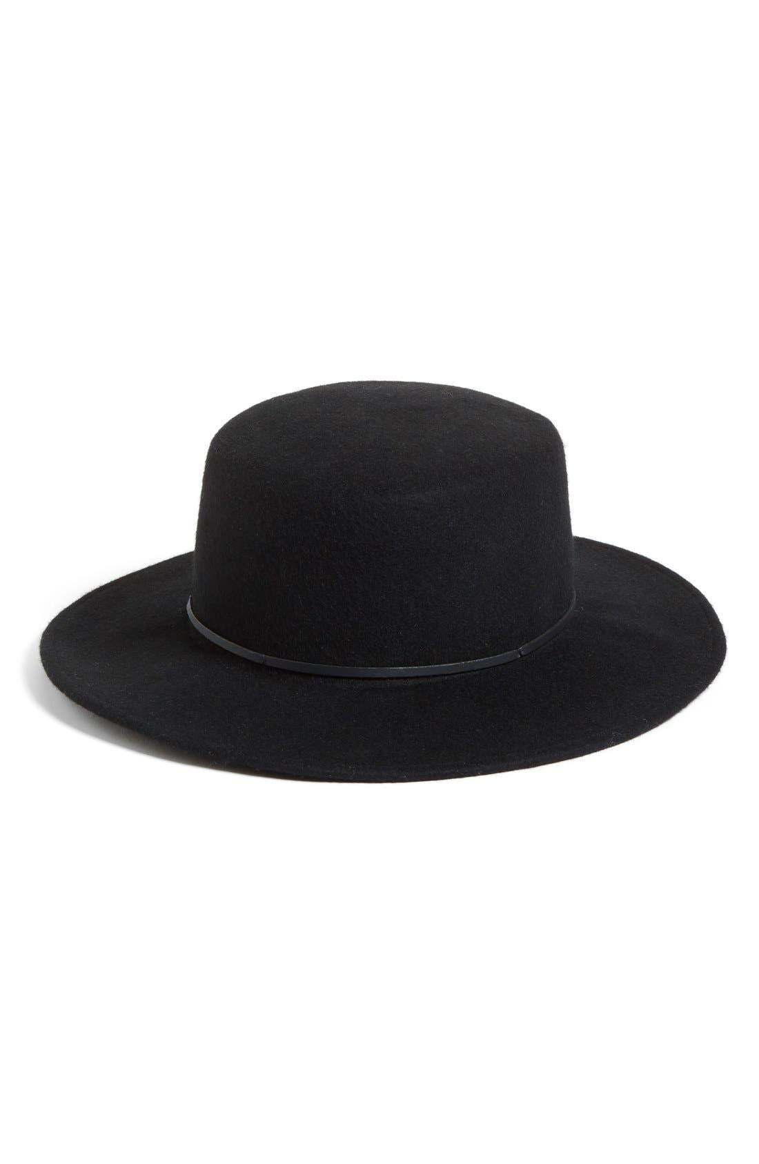 Flat Brim Felt Hat, Main, color, 001