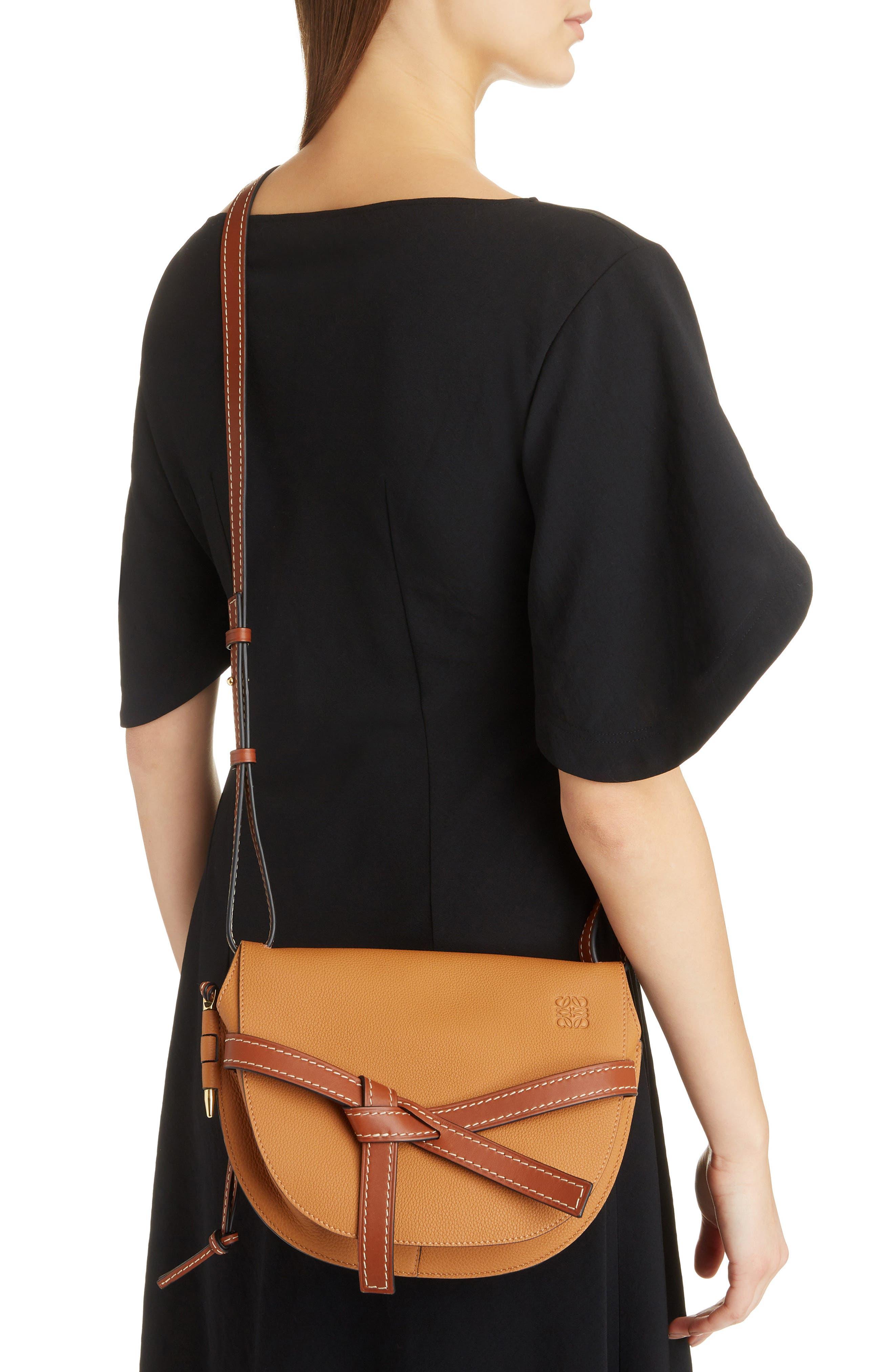 Small Gate Leather Crossbody Bag,                             Alternate thumbnail 2, color,                             LIGHT CARAMEL/ PECAN
