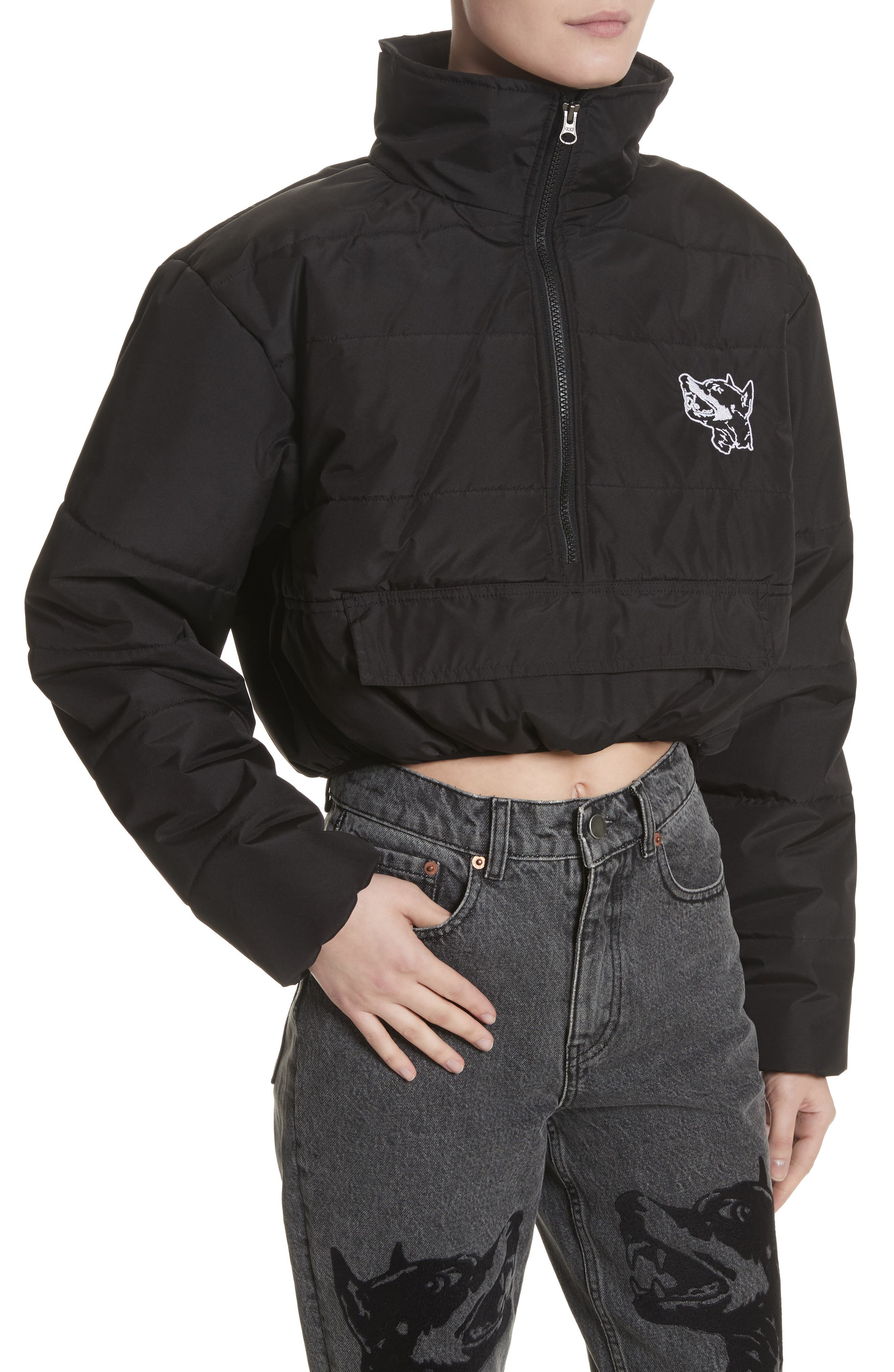 Misery Crop Puffer Coat,                             Alternate thumbnail 4, color,                             001