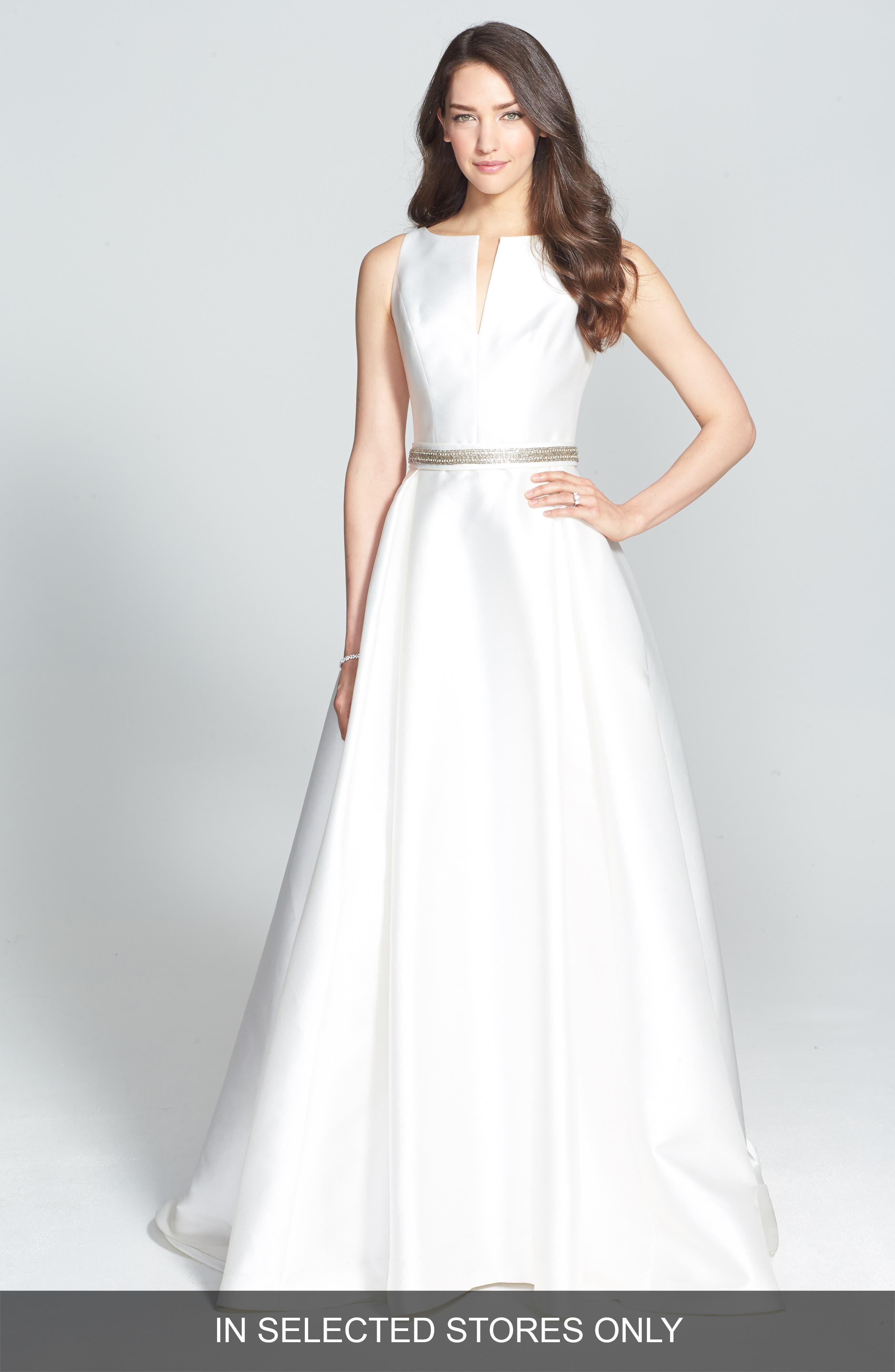Embellished Waist Mikado A-Line Dress,                         Main,                         color, IVORY