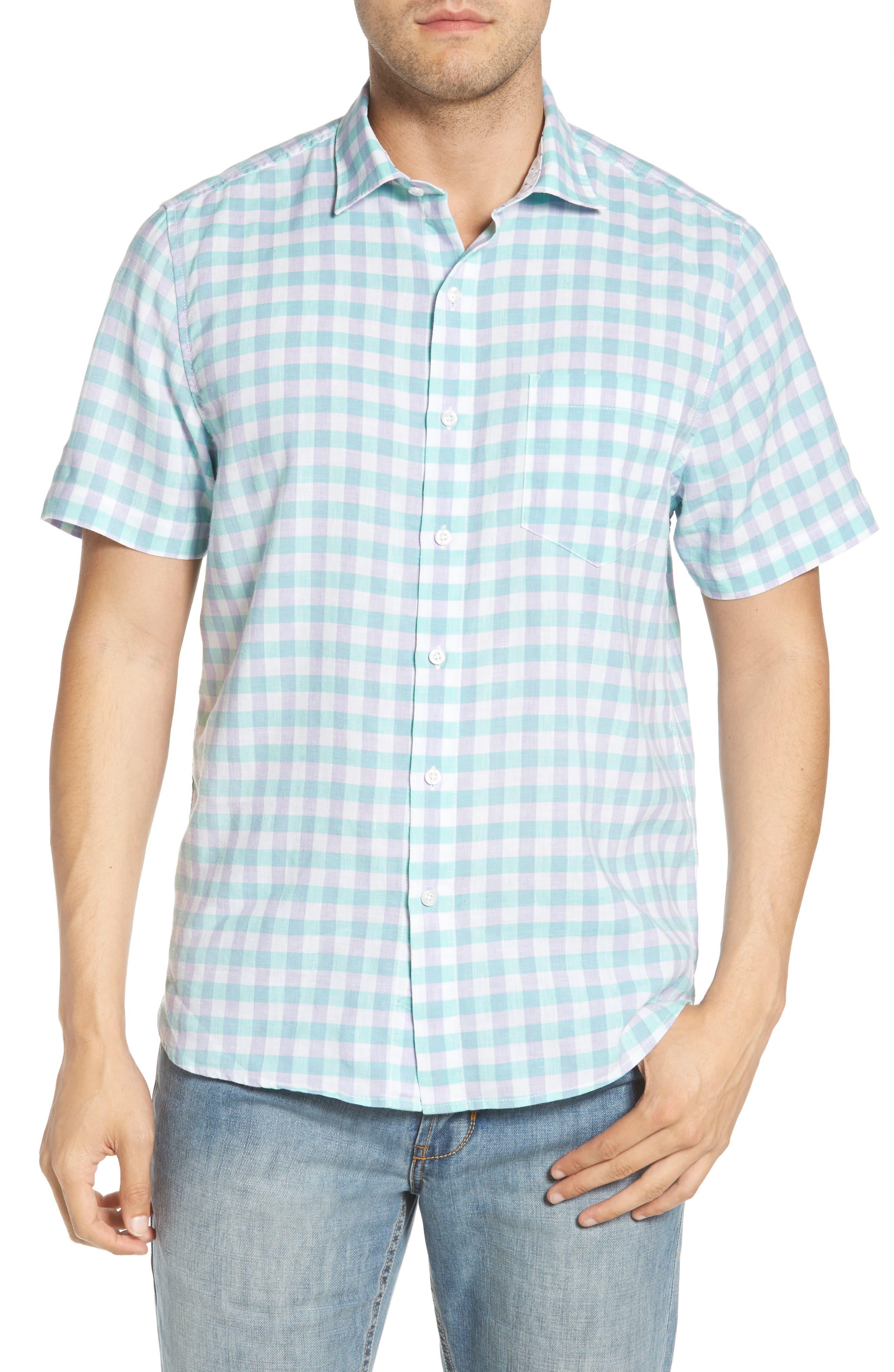 Gingham Del Toro Linen Blend Sport Shirt,                             Main thumbnail 2, color,