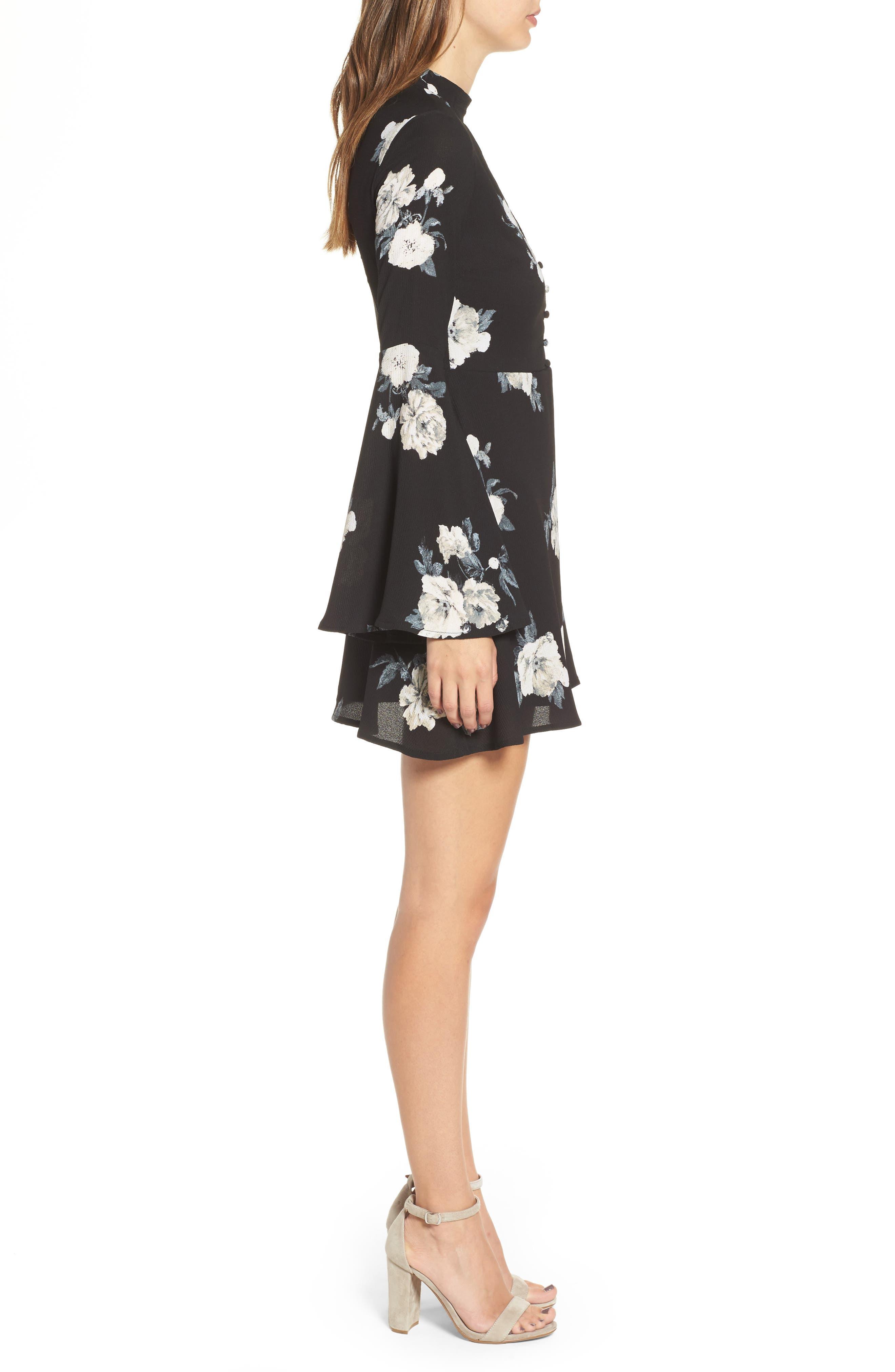 Harper Bell Sleeve Dress,                             Alternate thumbnail 3, color,                             001